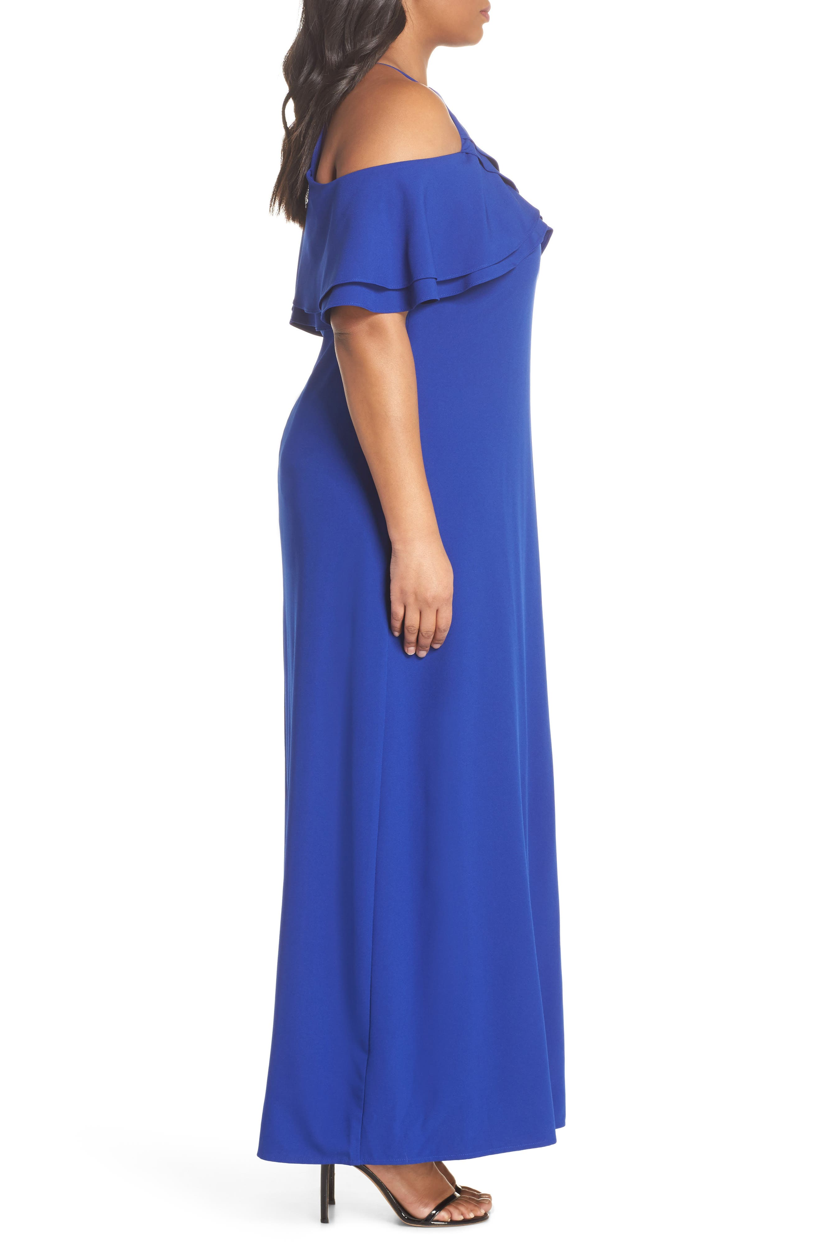 Ruffle Cold Shoulder Gown,                             Alternate thumbnail 3, color,                             400