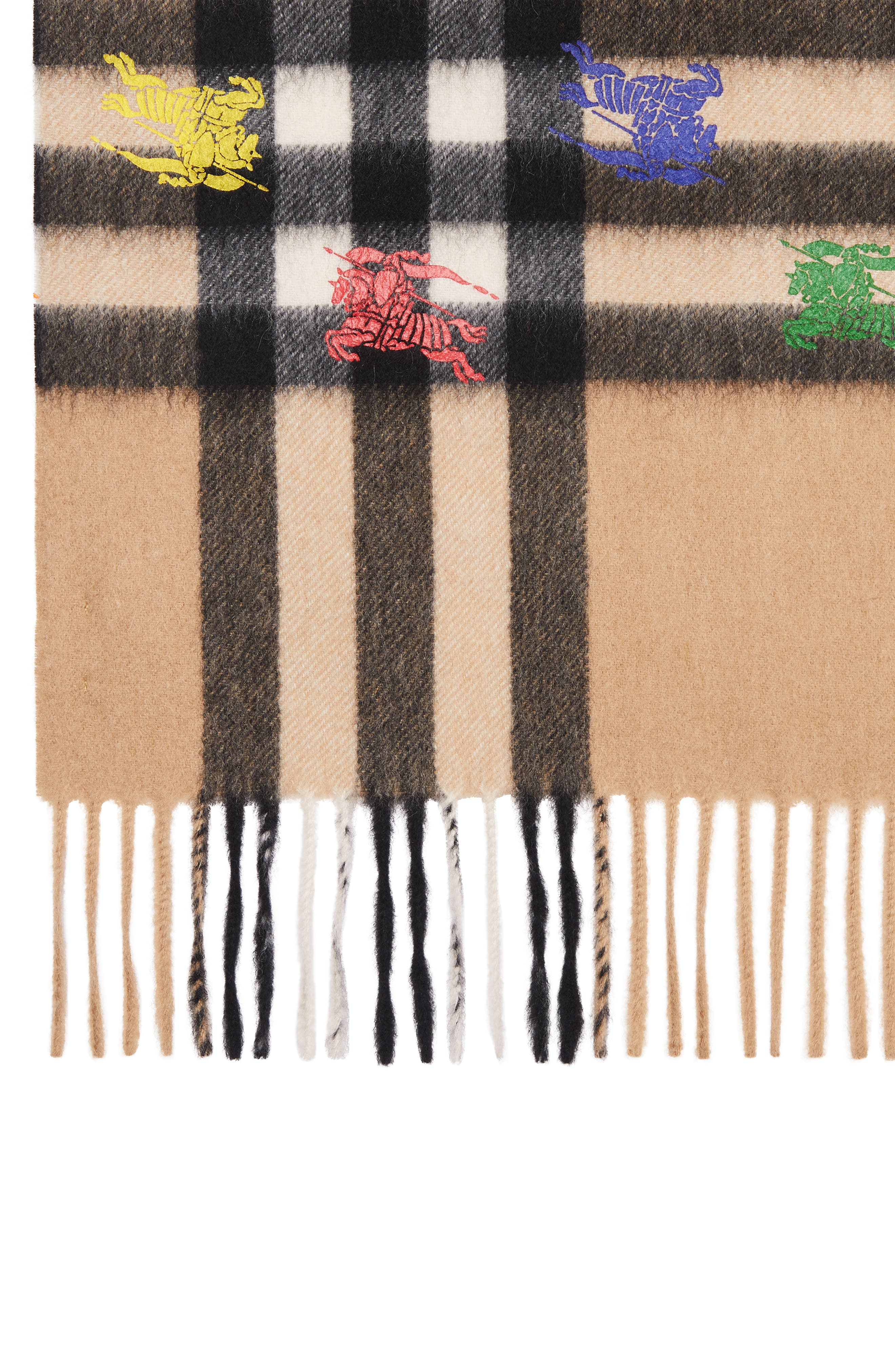 BURBERRY,                             Classic Check & Rainbow Knight Cashmere Scarf,                             Alternate thumbnail 4, color,                             CAMEL