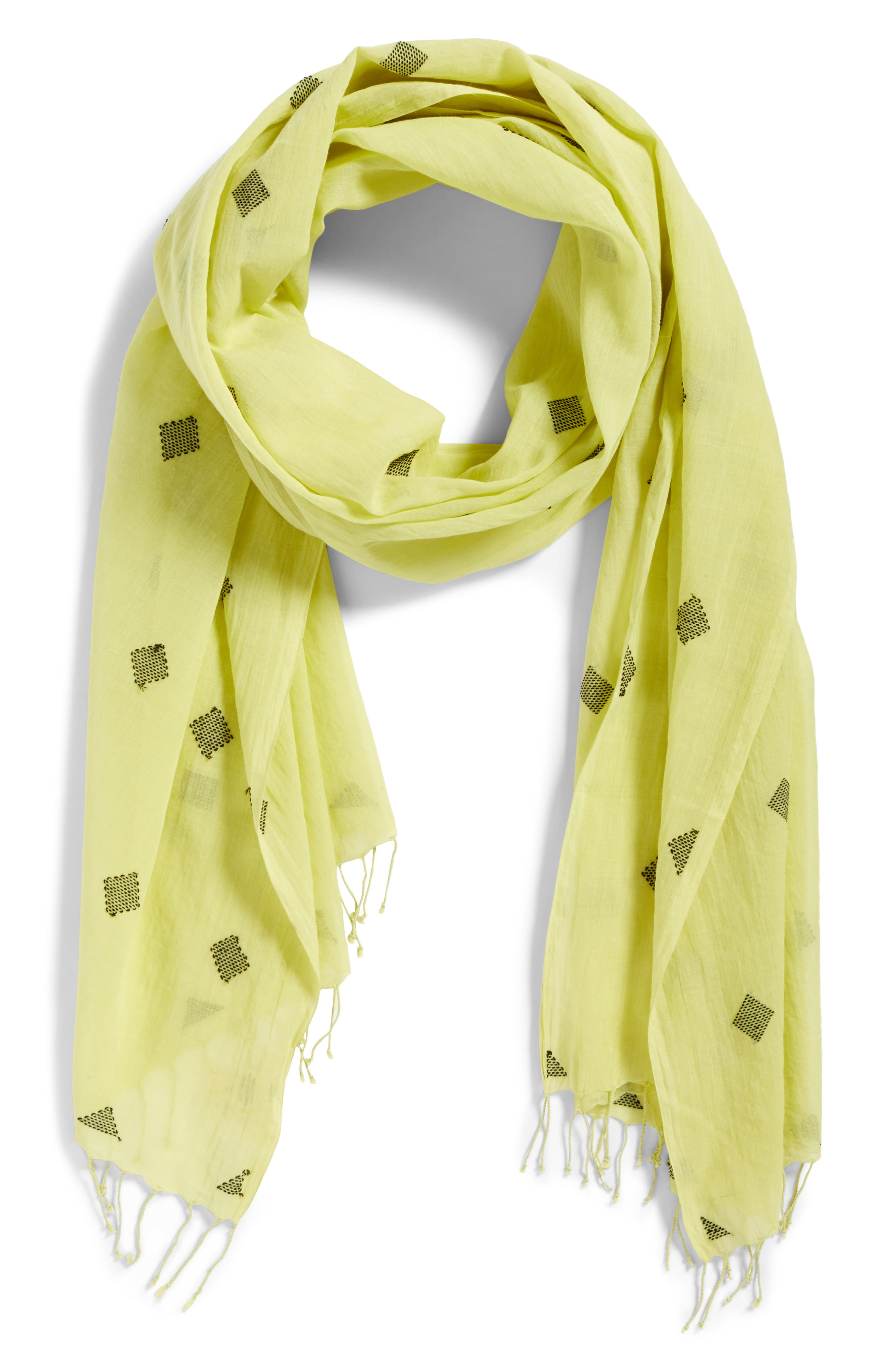 Diamond Weave Organic Cotton Scarf,                             Alternate thumbnail 2, color,                             361