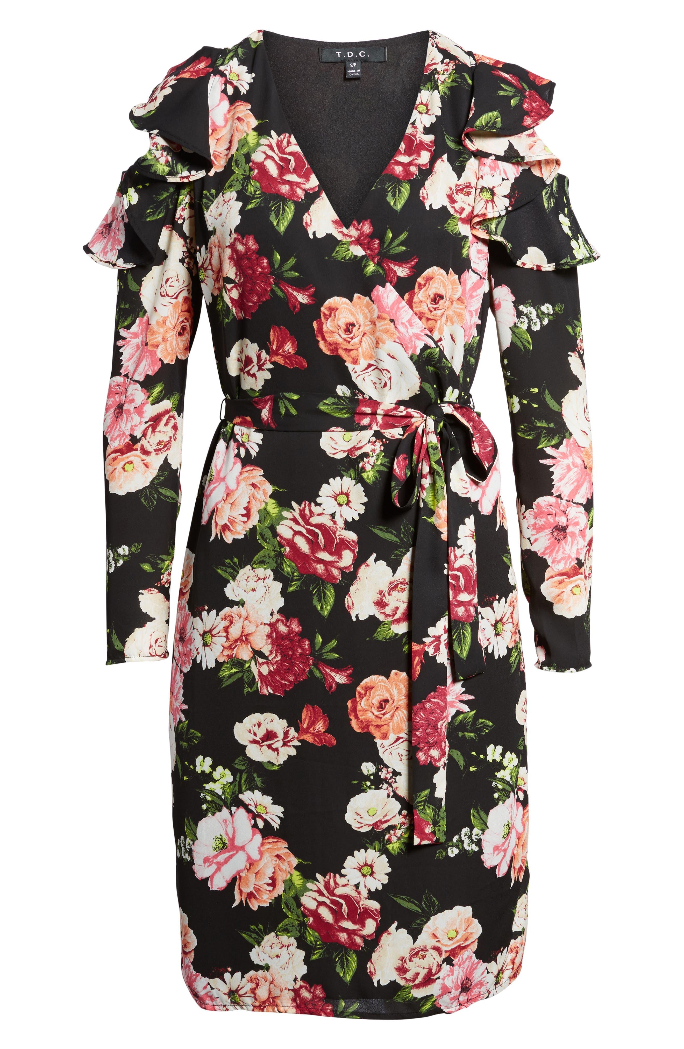 Floral Print Wrap Dress,                             Alternate thumbnail 6, color,                             002