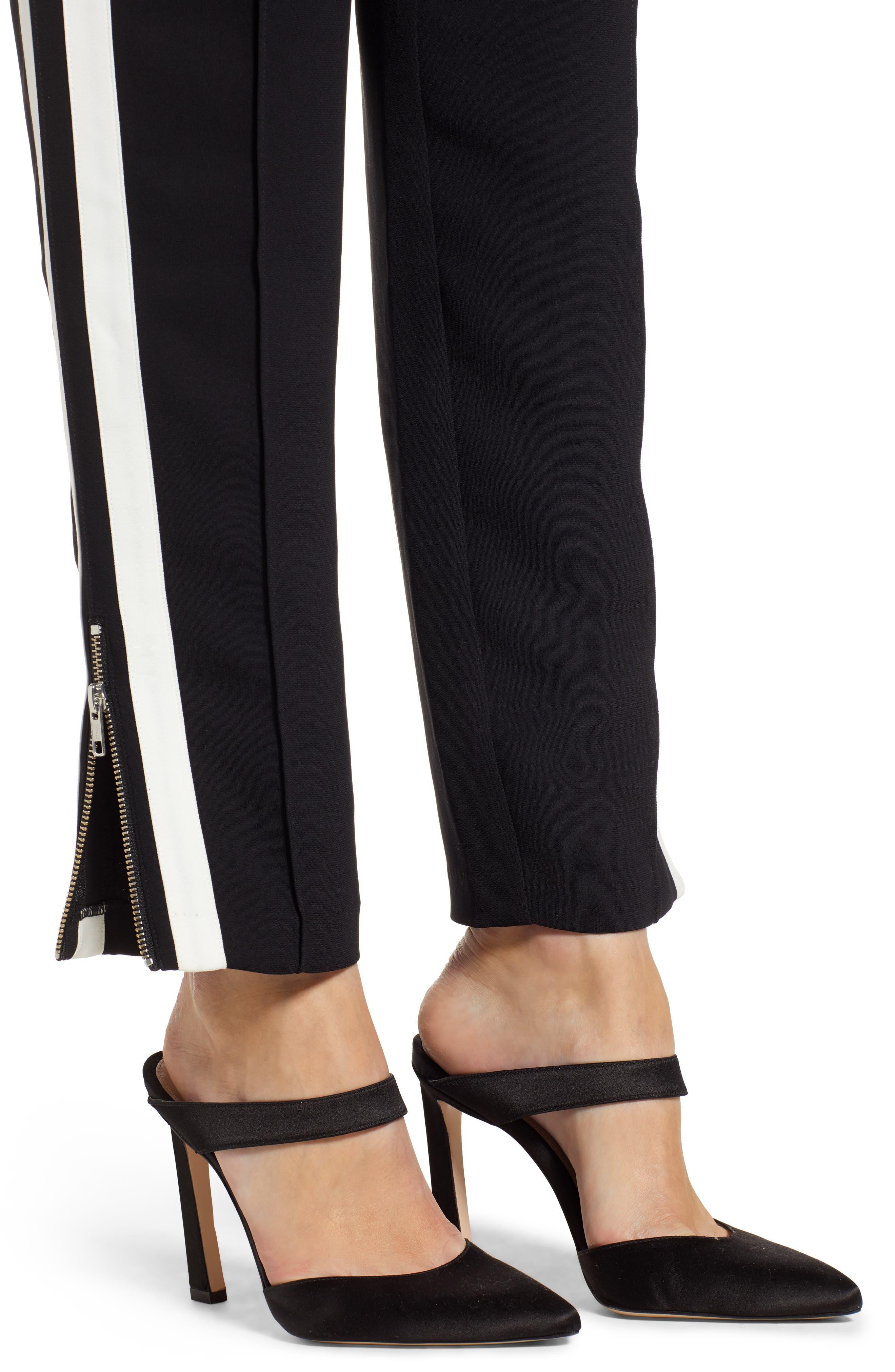 Side Stripe Track Pants,                             Alternate thumbnail 4, color,                             BLACK COMBO