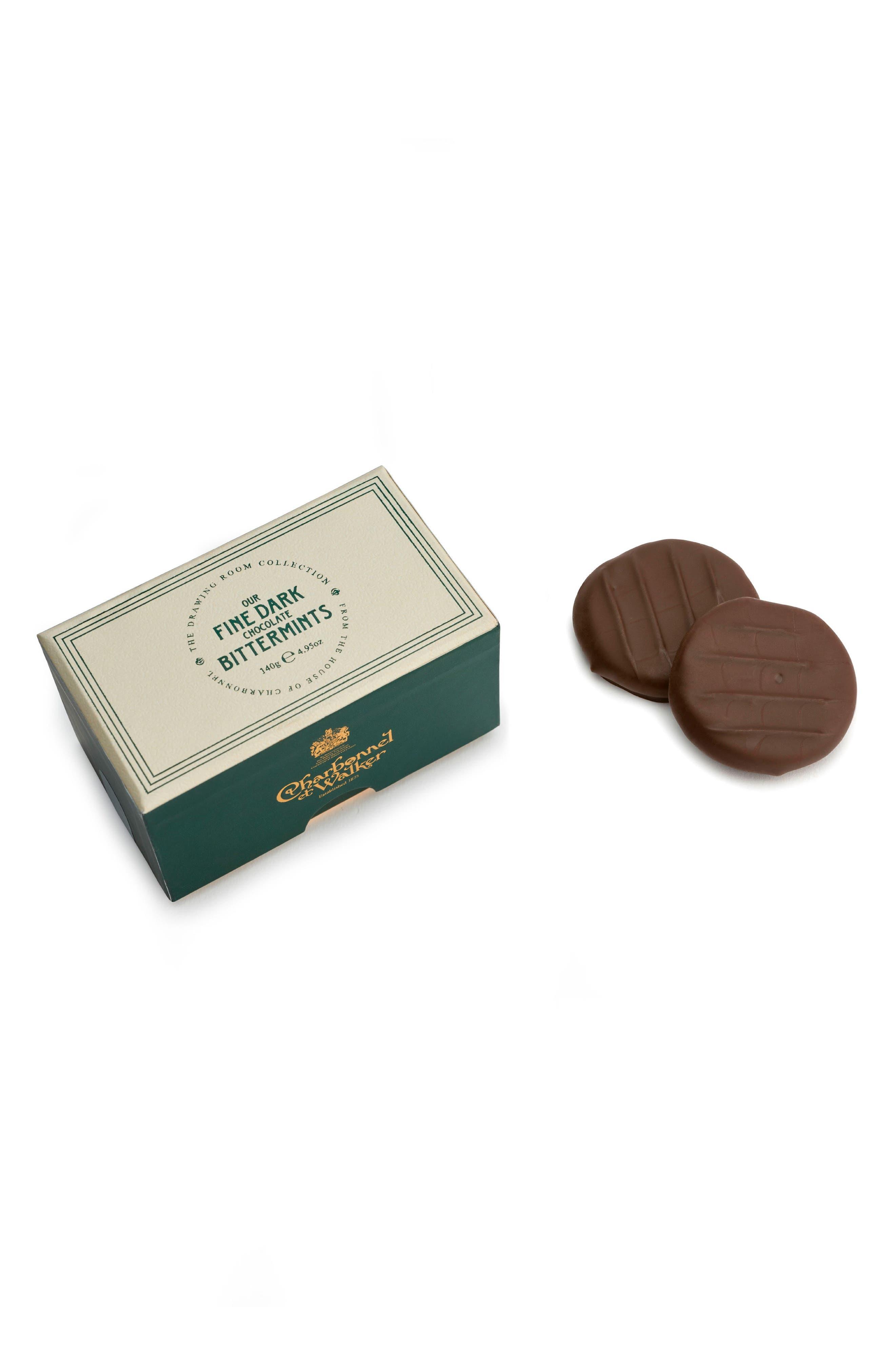 Mint Dark Chocolate Thins,                             Main thumbnail 1, color,                             GREEN/ WHITE