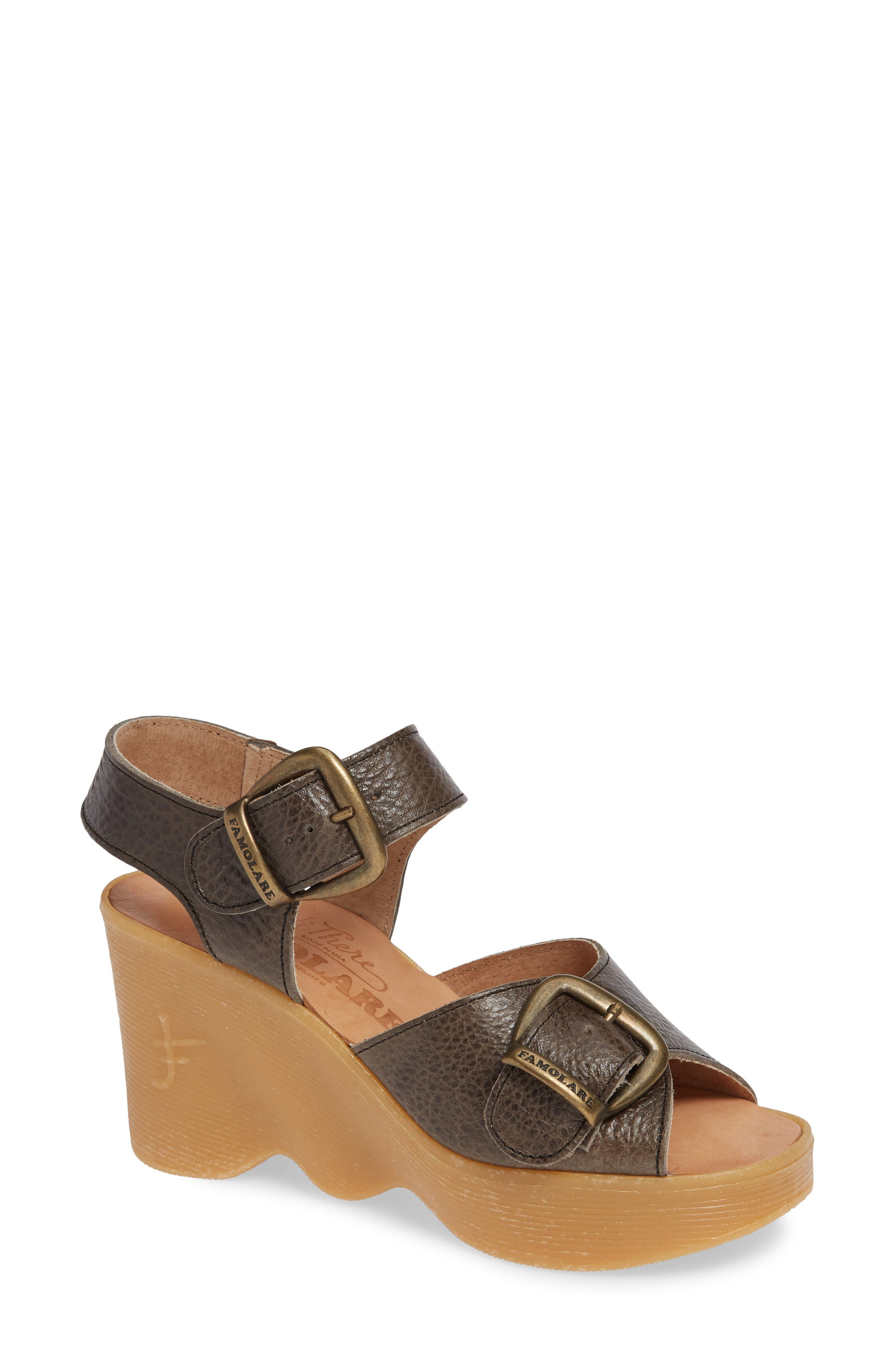 Double Vision Wedge Sandal,                             Main thumbnail 1, color,                             STEEL LEATHER