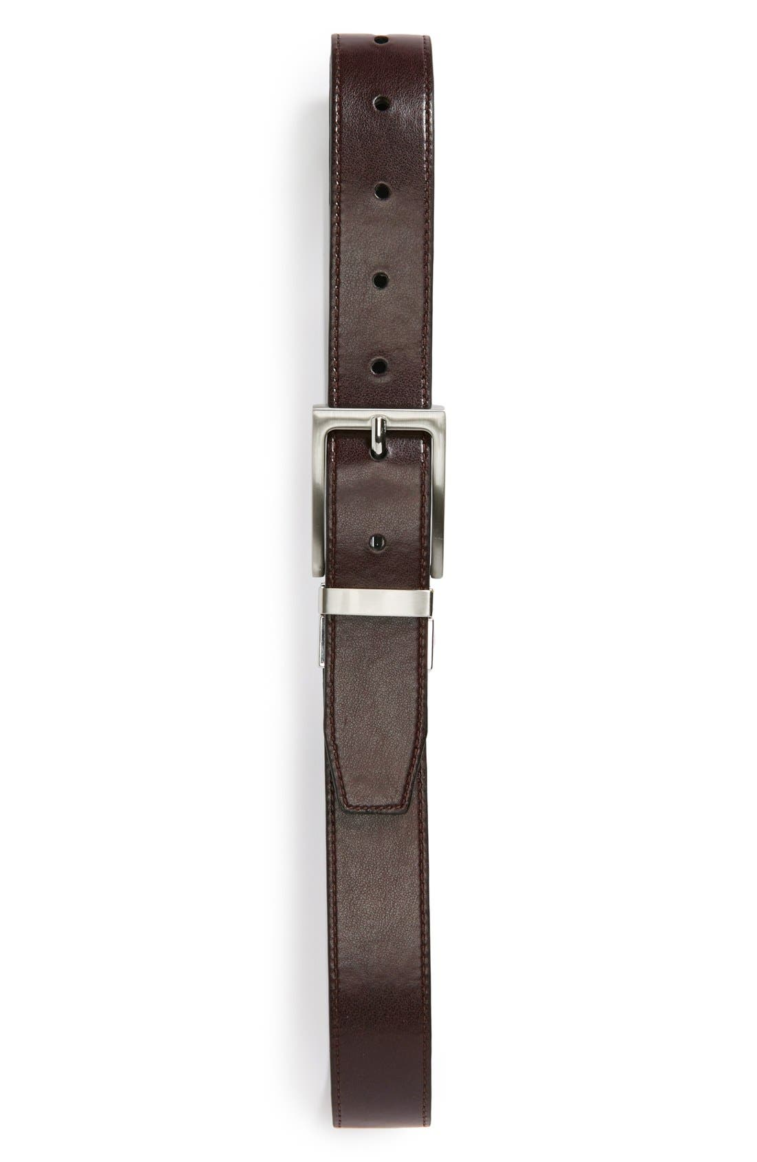 Reversible Faux Leather Belt,                             Alternate thumbnail 4, color,                             BLACK