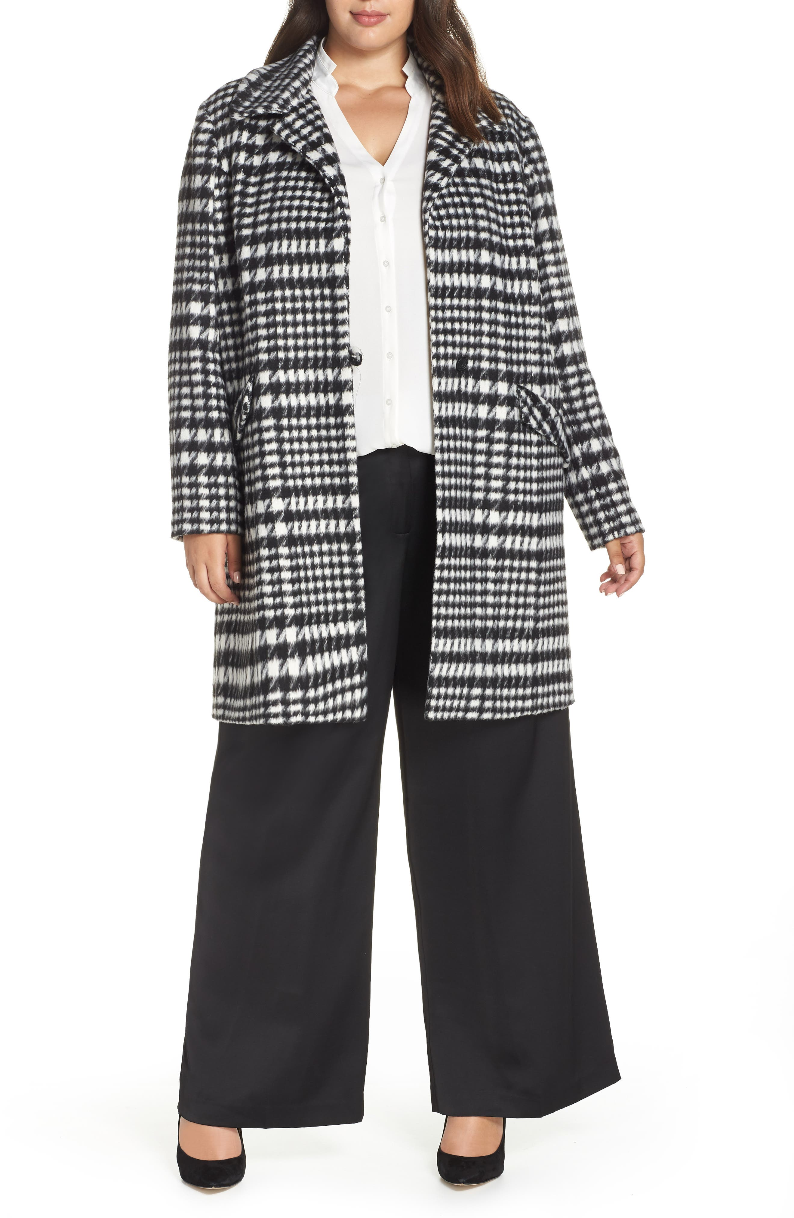 Brushed Houndstooth Coat,                             Main thumbnail 1, color,                             BLACK- IVORY HOUNDSTOOTH