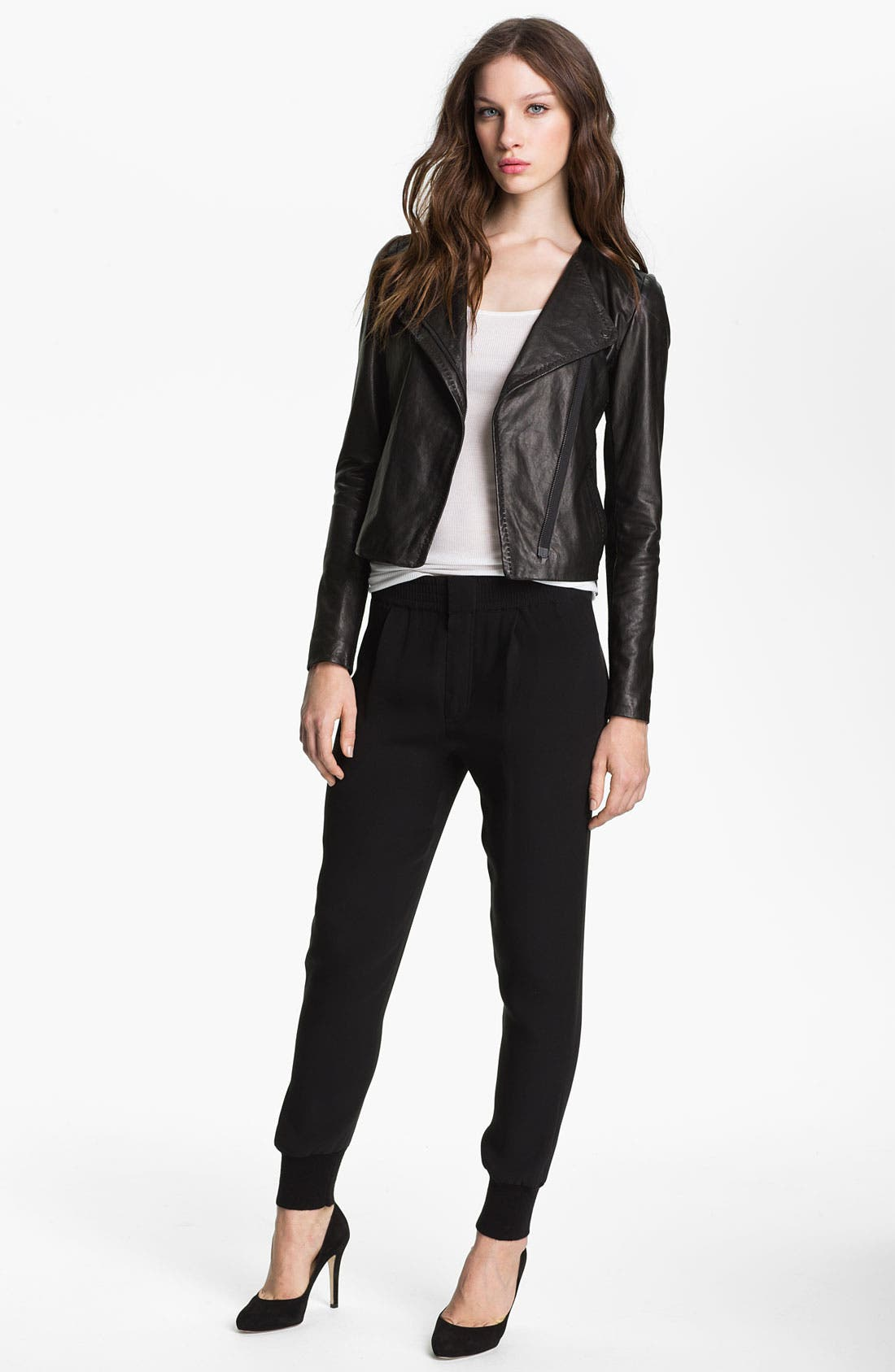 Asymmetrical Zip Leather Jacket, Main, color, 001