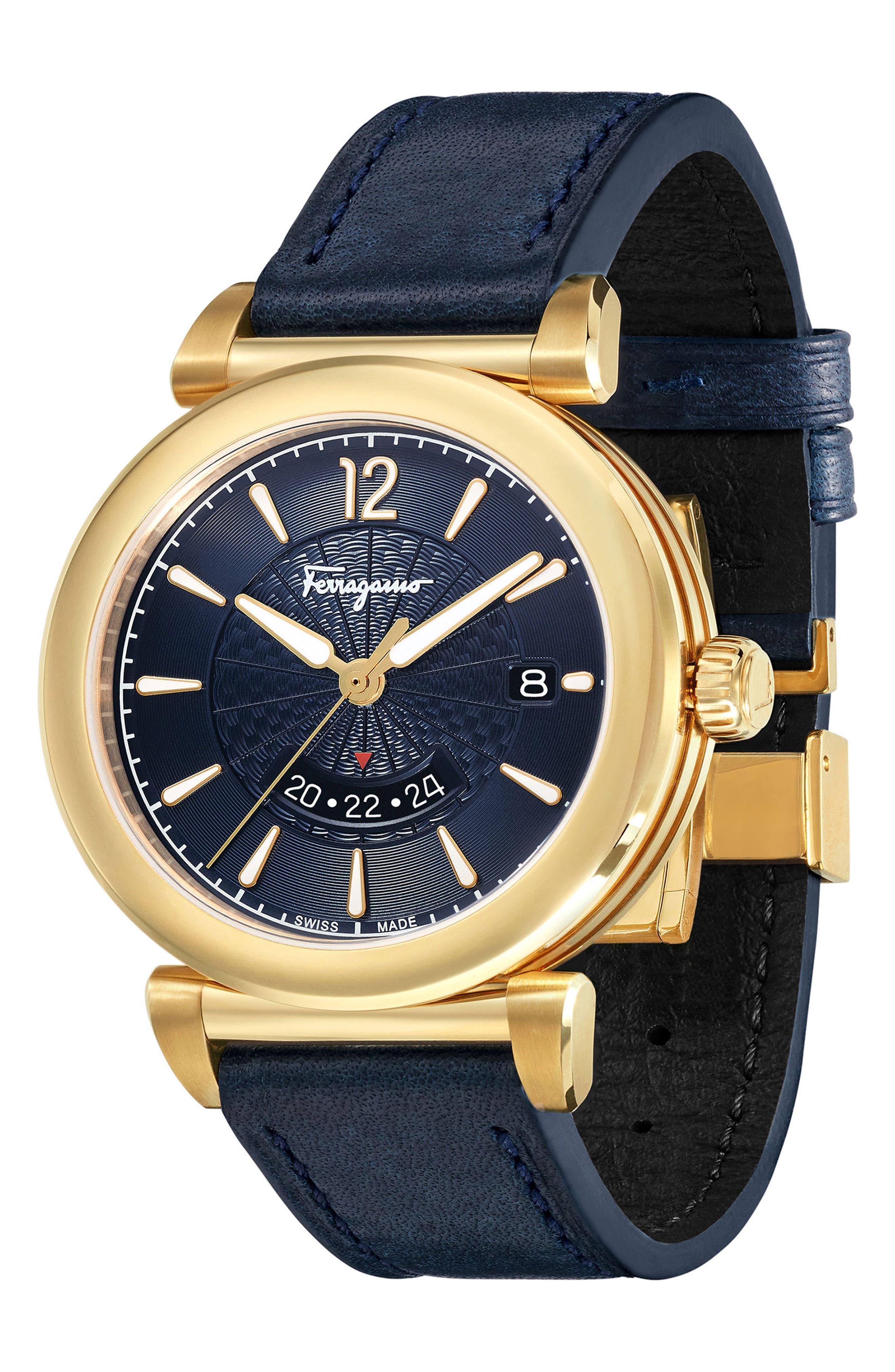 Feroni Leather Strap Watch, 40mm,                             Alternate thumbnail 3, color,                             BLUE/ GOLD