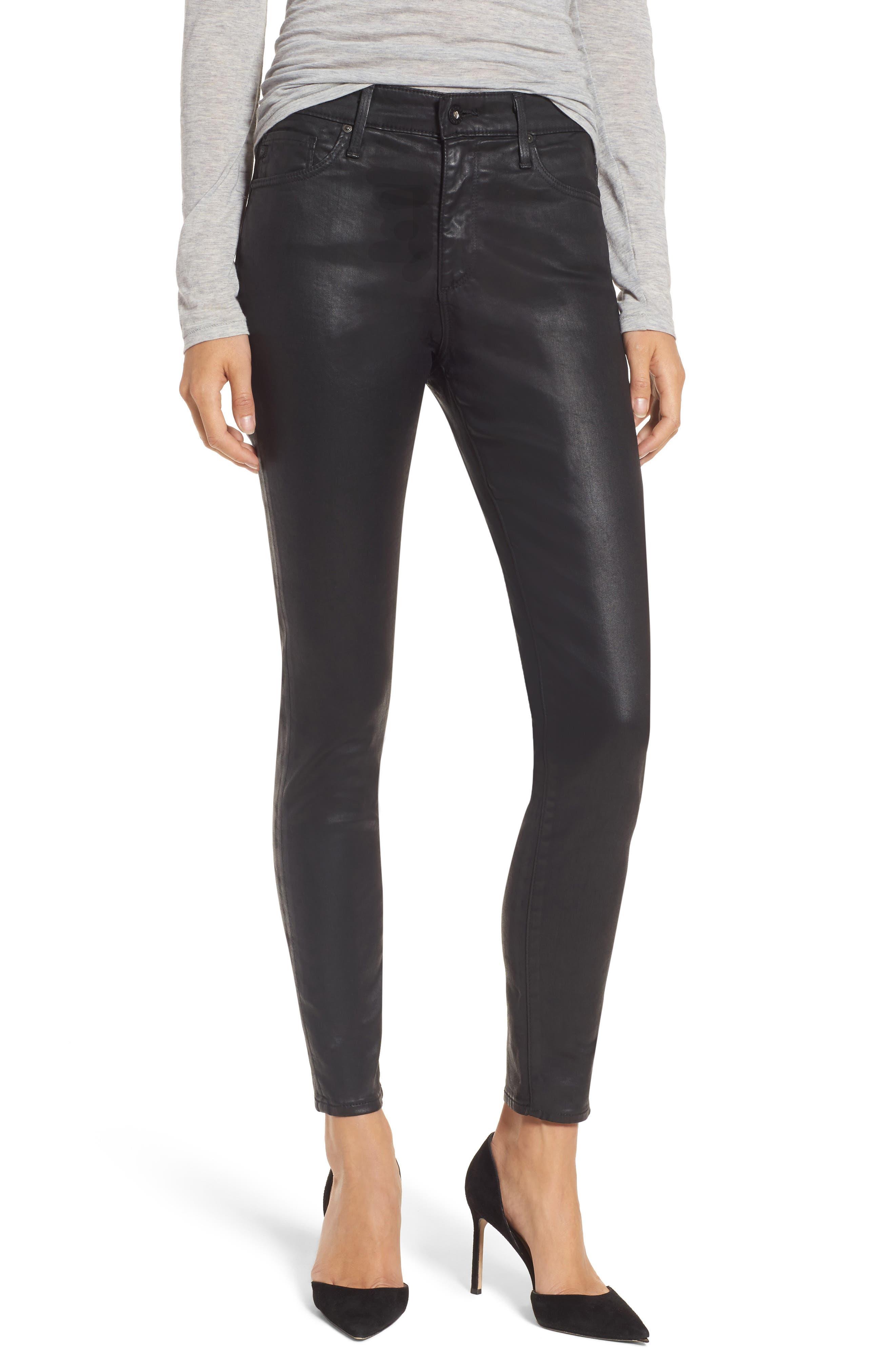 Farrah High Waist Ankle Skinny Jeans,                         Main,                         color, LEATHERETTE SUPER BLACK
