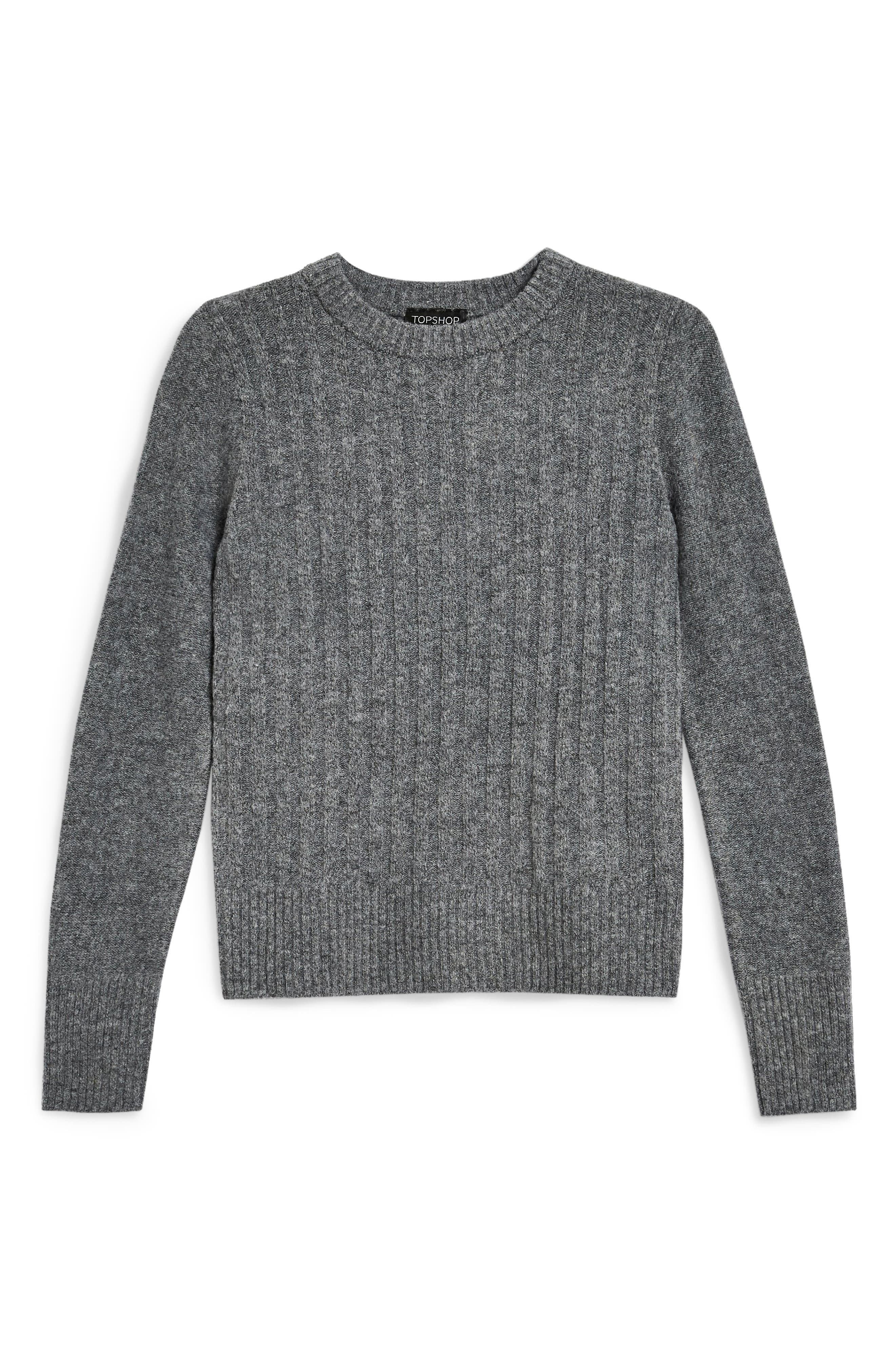 Rib Sweater,                             Alternate thumbnail 4, color,                             CHARCOAL