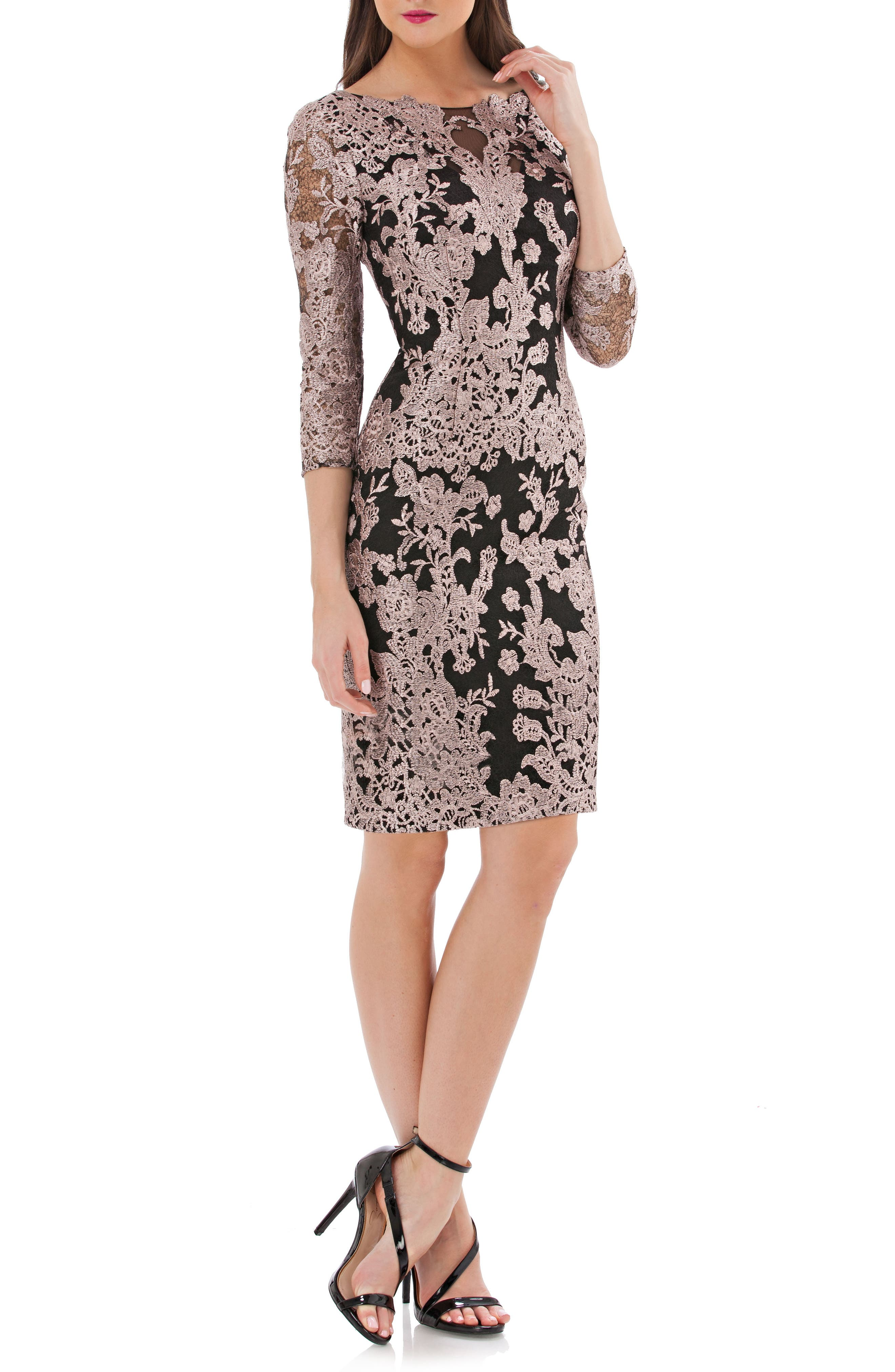 Embroidered Lace Cocktail Dress,                             Main thumbnail 1, color,                             015