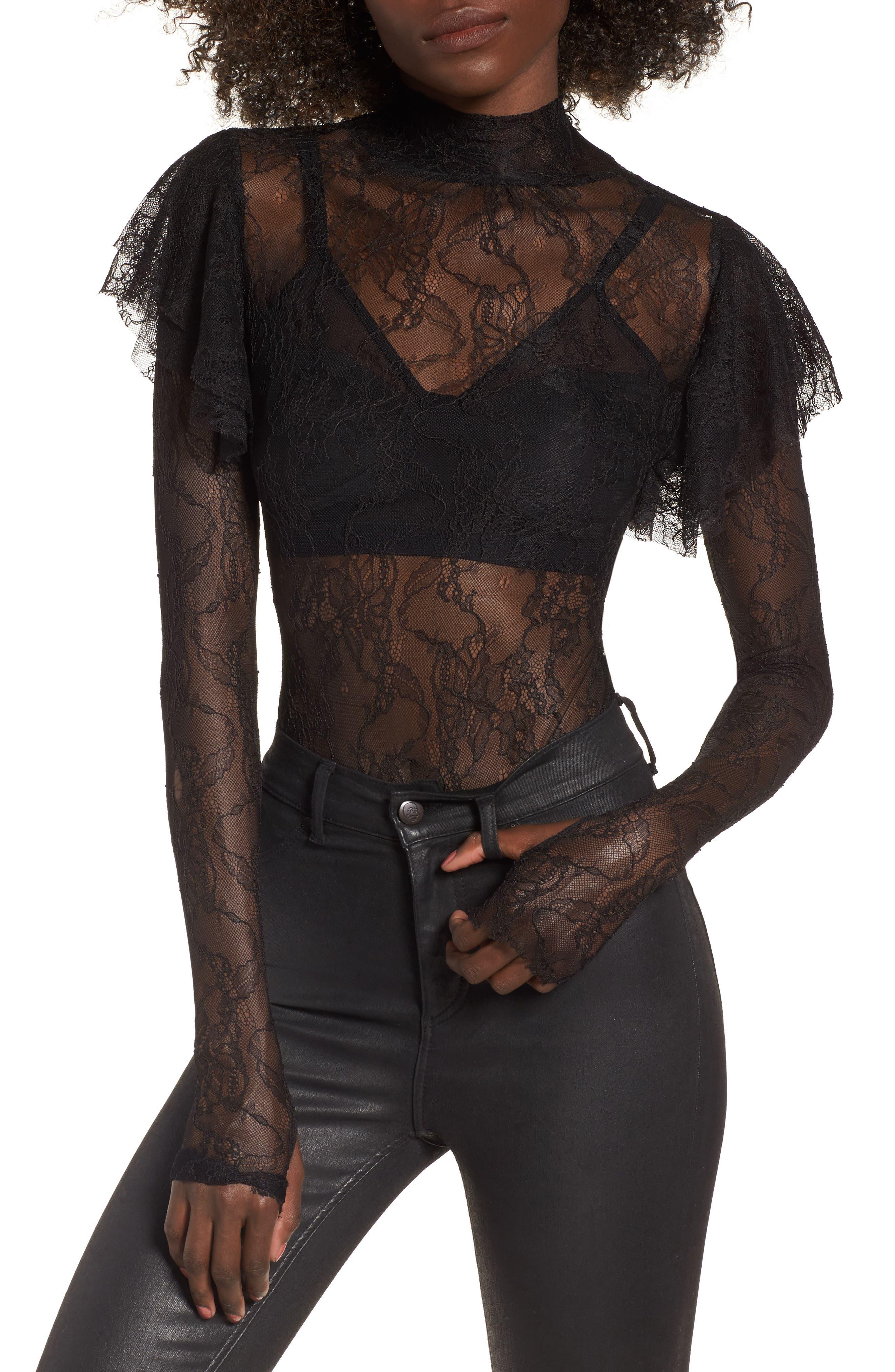 Esme Ruffle Lace Bodysuit,                             Main thumbnail 1, color,                             001