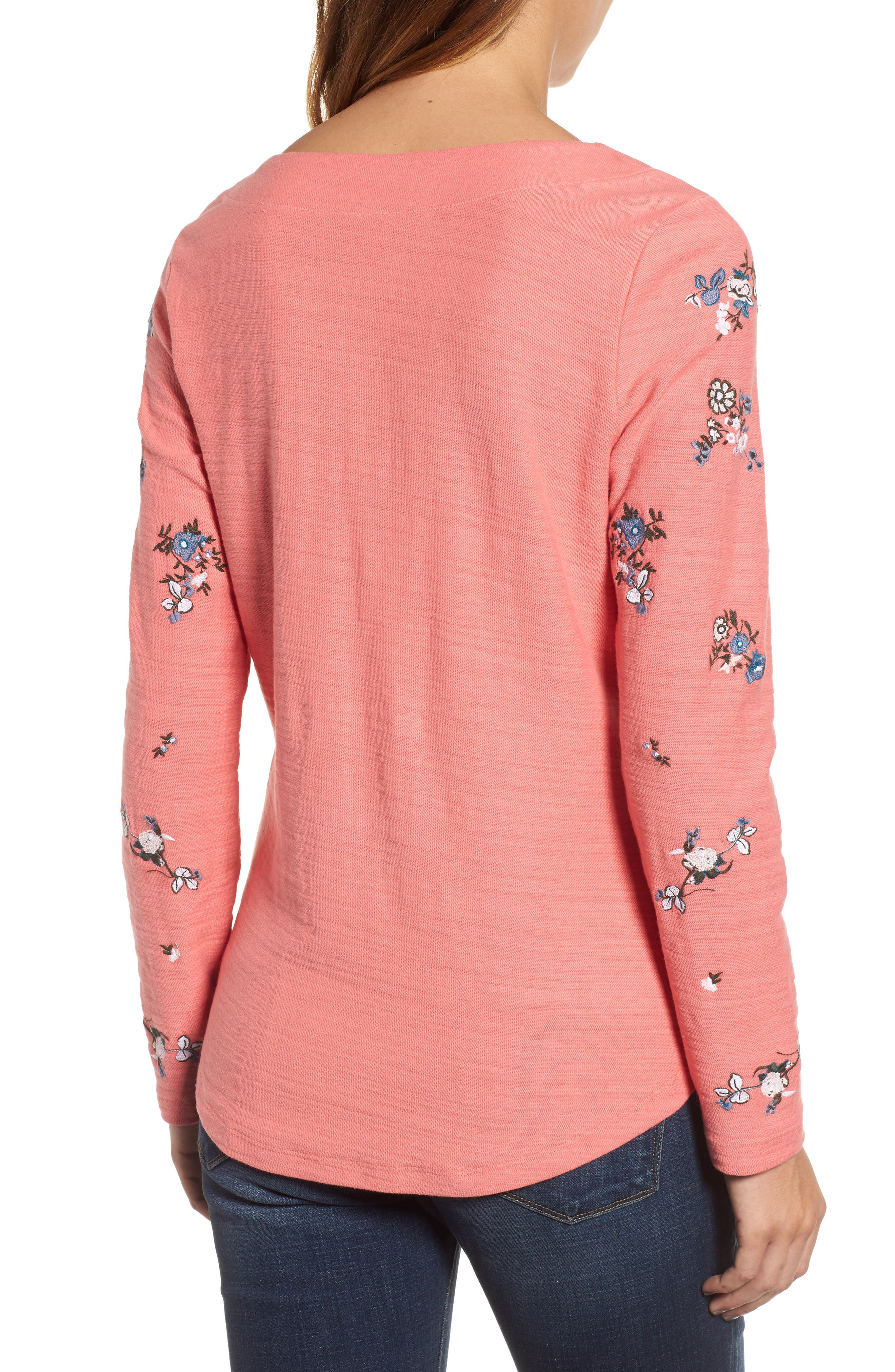 Lace-Up Neck Floral Embroidered Sweatshirt,                             Alternate thumbnail 4, color,