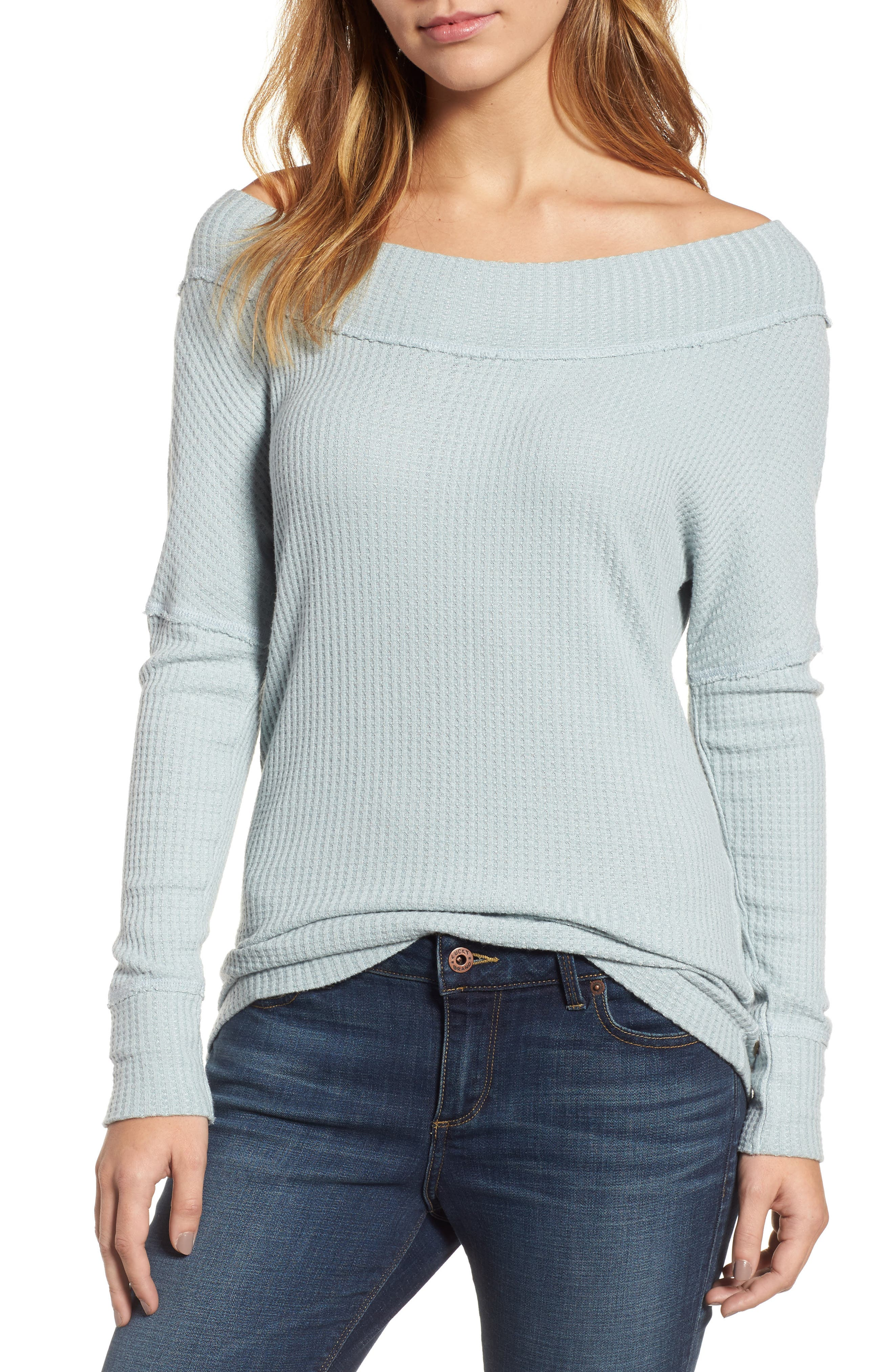 Off the Shoulder Thermal Knit Top,                         Main,                         color, 430