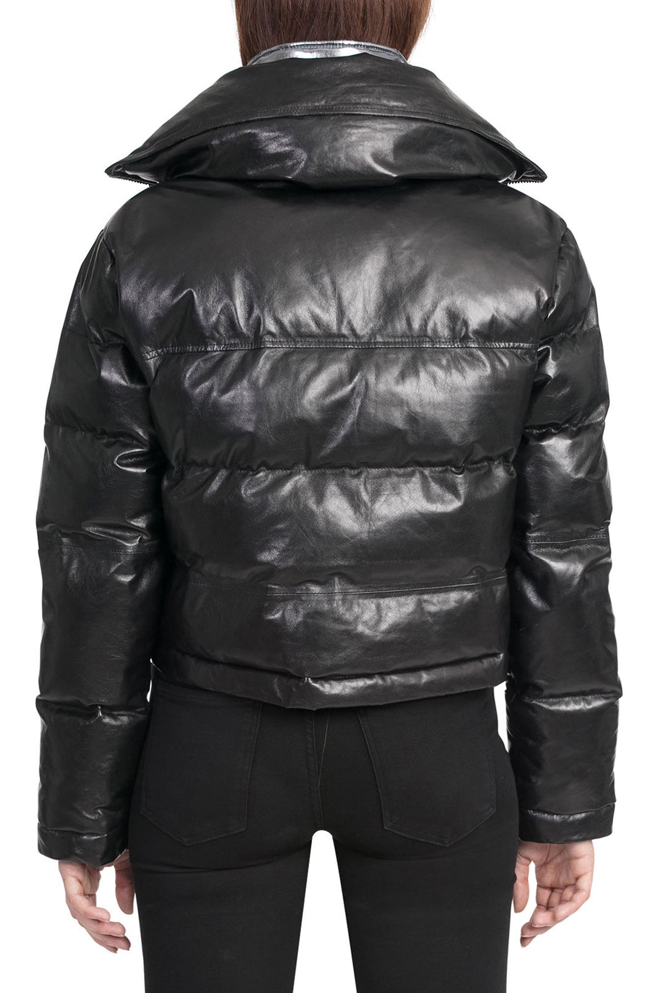 BAGATELLE.CITY The Puffer Leather Jacket with Removable Bib Lining,                             Alternate thumbnail 2, color,                             001