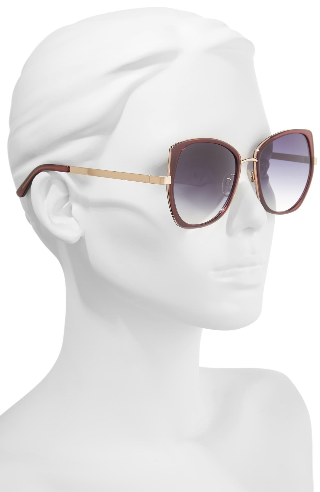 Ellie 55mm Sunglasses,                             Alternate thumbnail 2, color,                             MILKY GREY PURPLE
