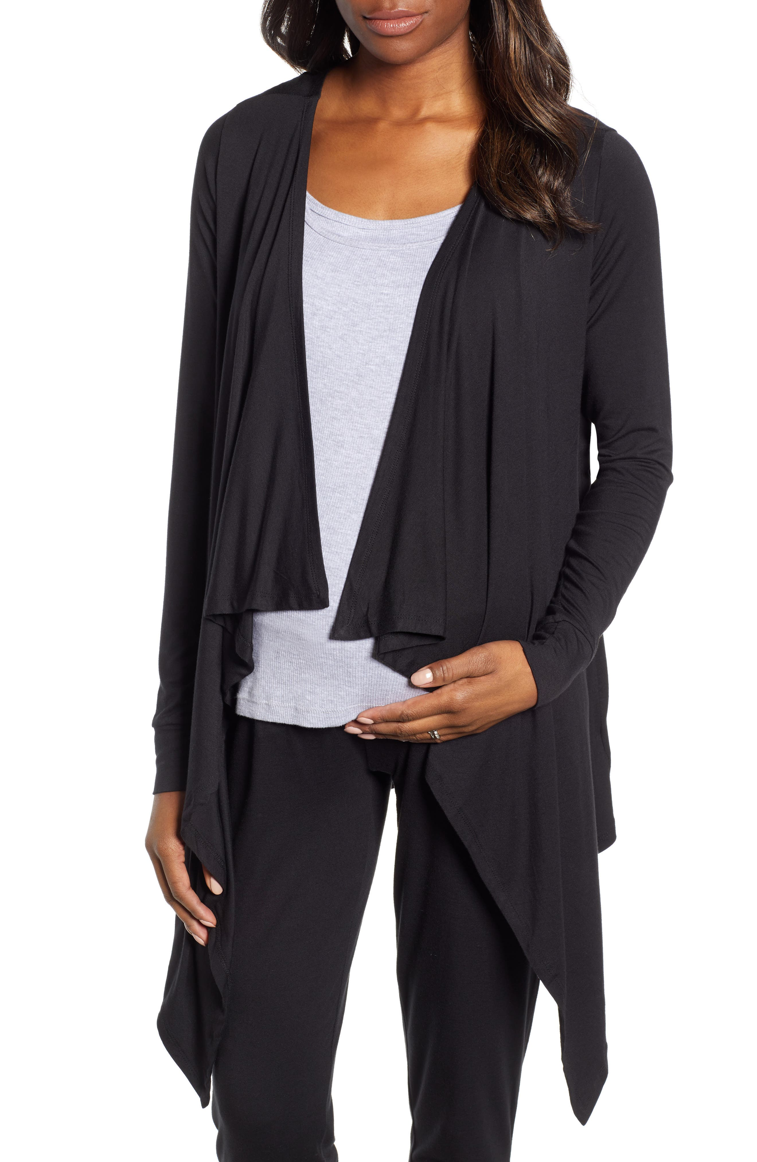 ANGEL MATERNITY Maternity/Nursing Cardigan, Tank & Pants Set, Main, color, BLACK