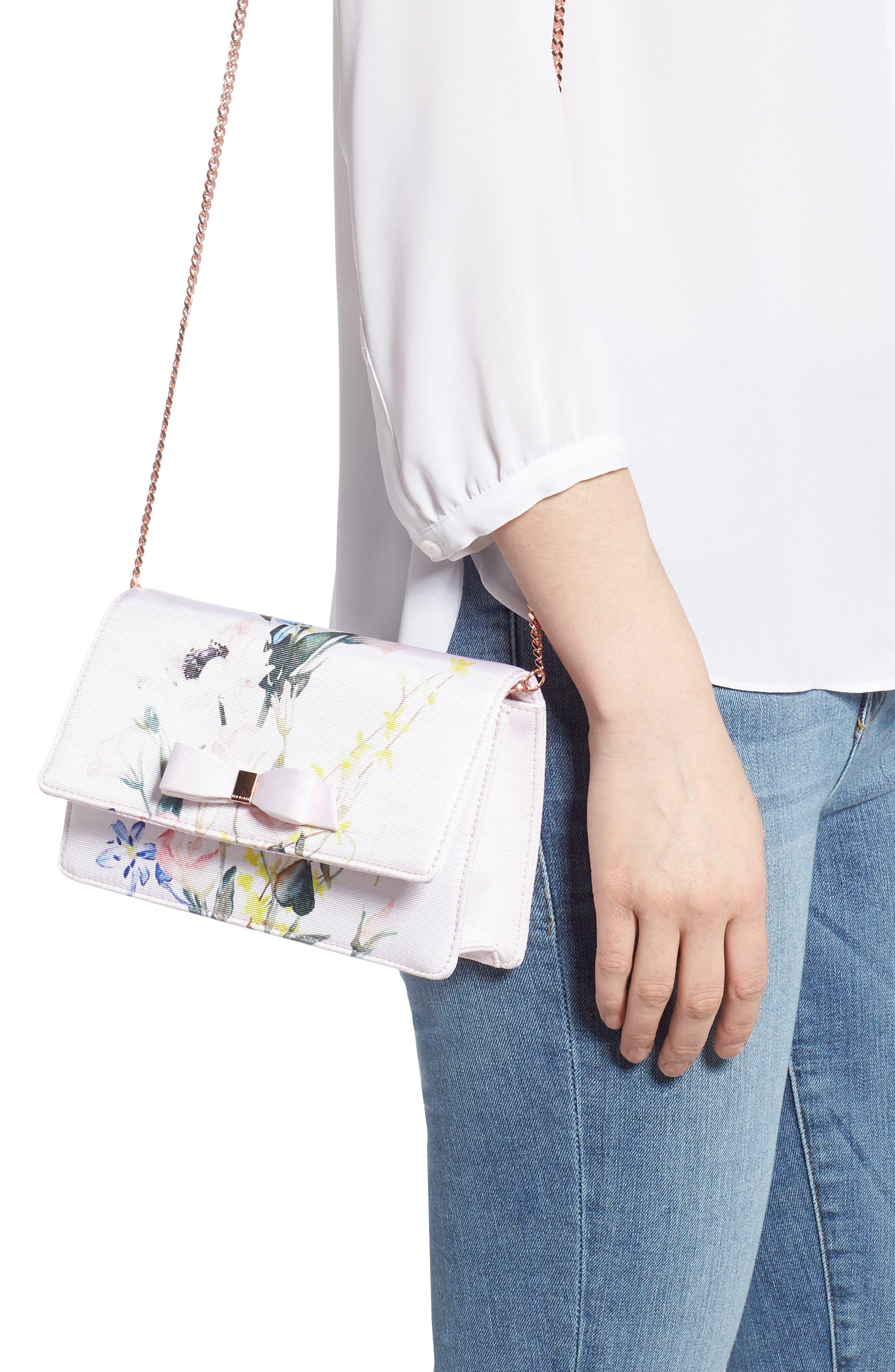 Hania Elegant Bow Evening Bag,                             Alternate thumbnail 2, color,                             NUDE PINK