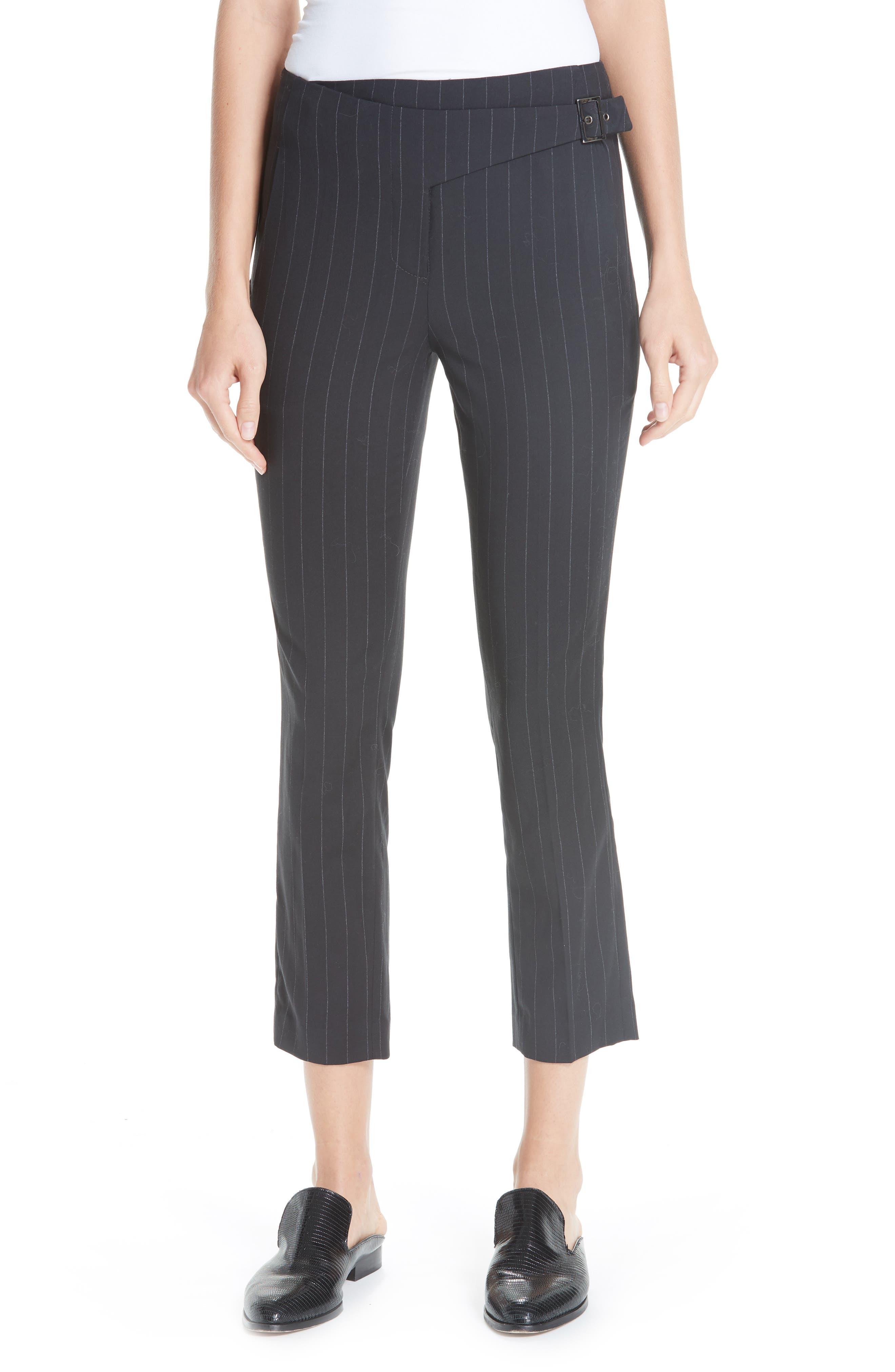 Bango Pinstripe Crop Trousers,                             Main thumbnail 1, color,                             001