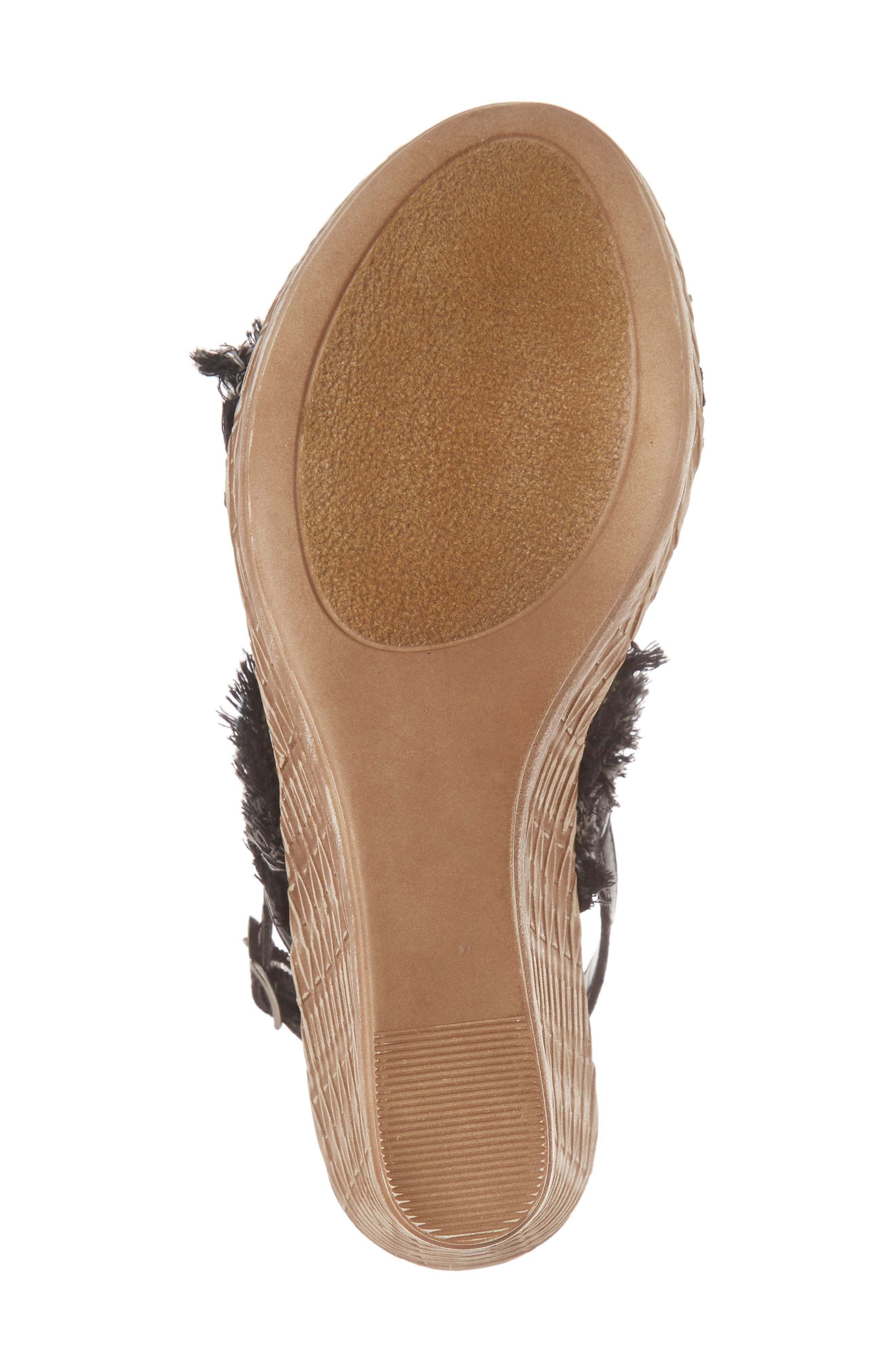 by Easy Street<sup>®</sup> Zaira Wedge Espadrille Sandal,                             Alternate thumbnail 6, color,                             BLACK FAUX LEATHER