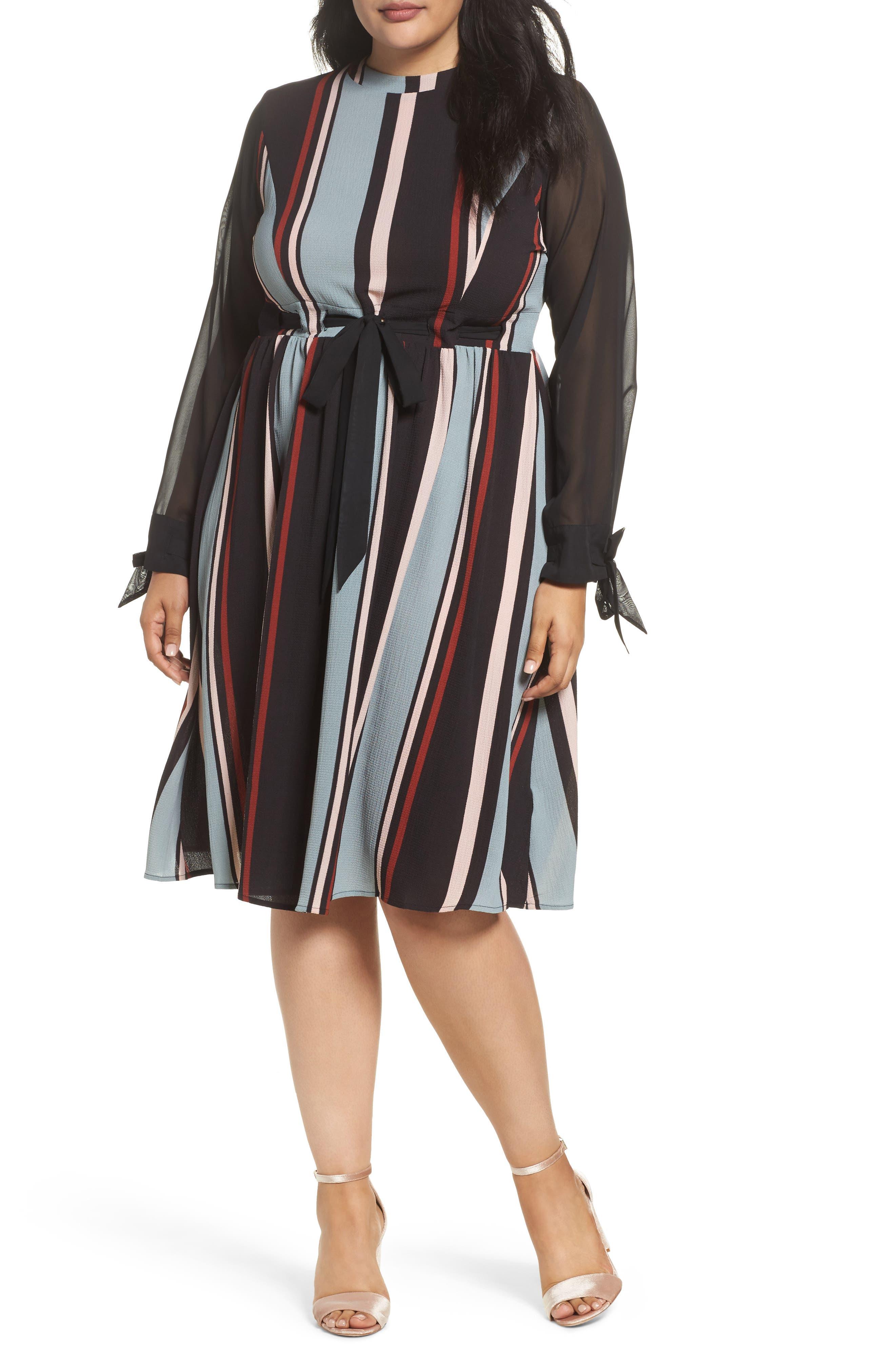 Stripe Fit & Flare Dress,                         Main,                         color, 001