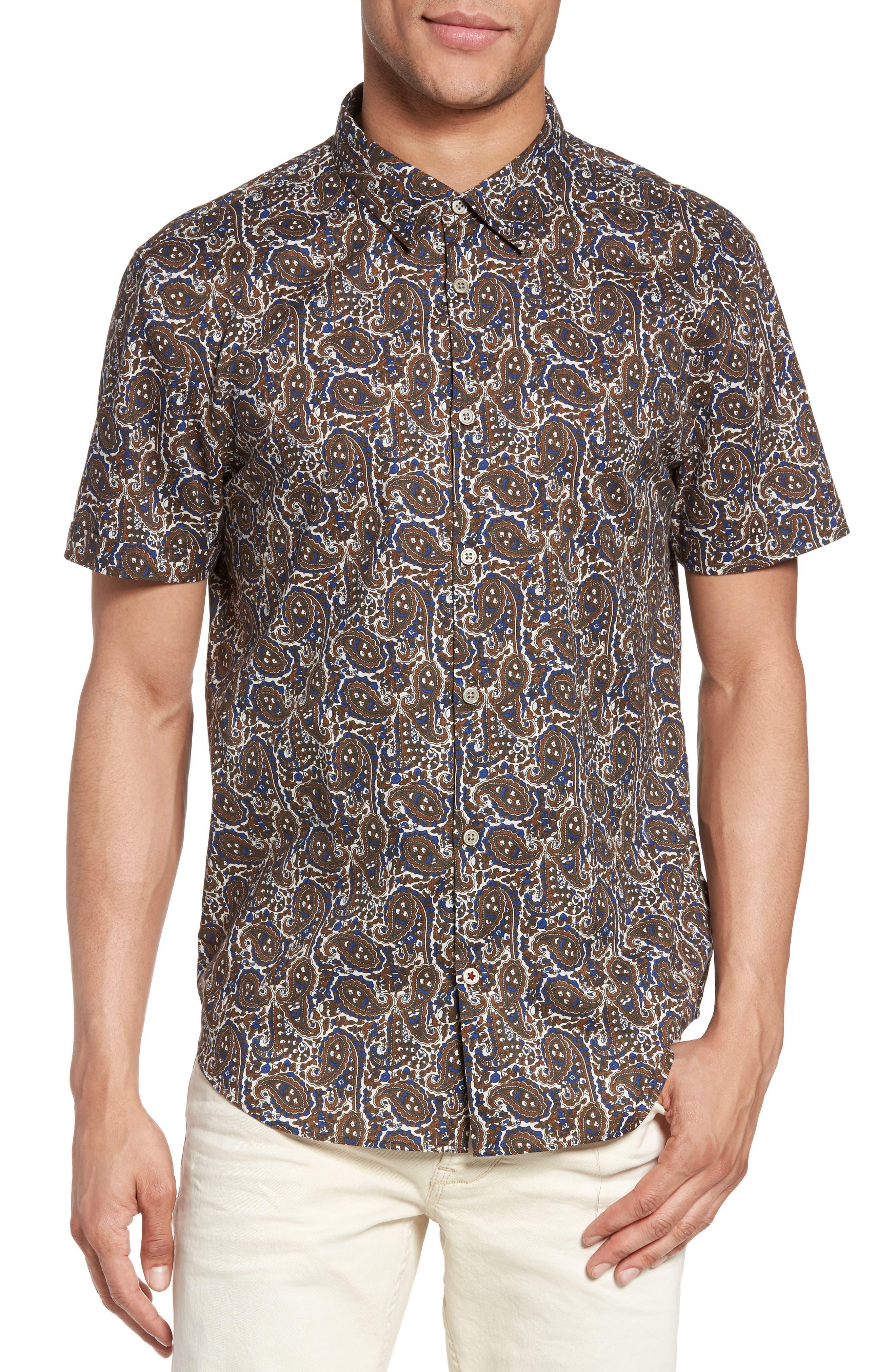 Paisley Trim Fit Sport Shirt,                         Main,                         color, 204