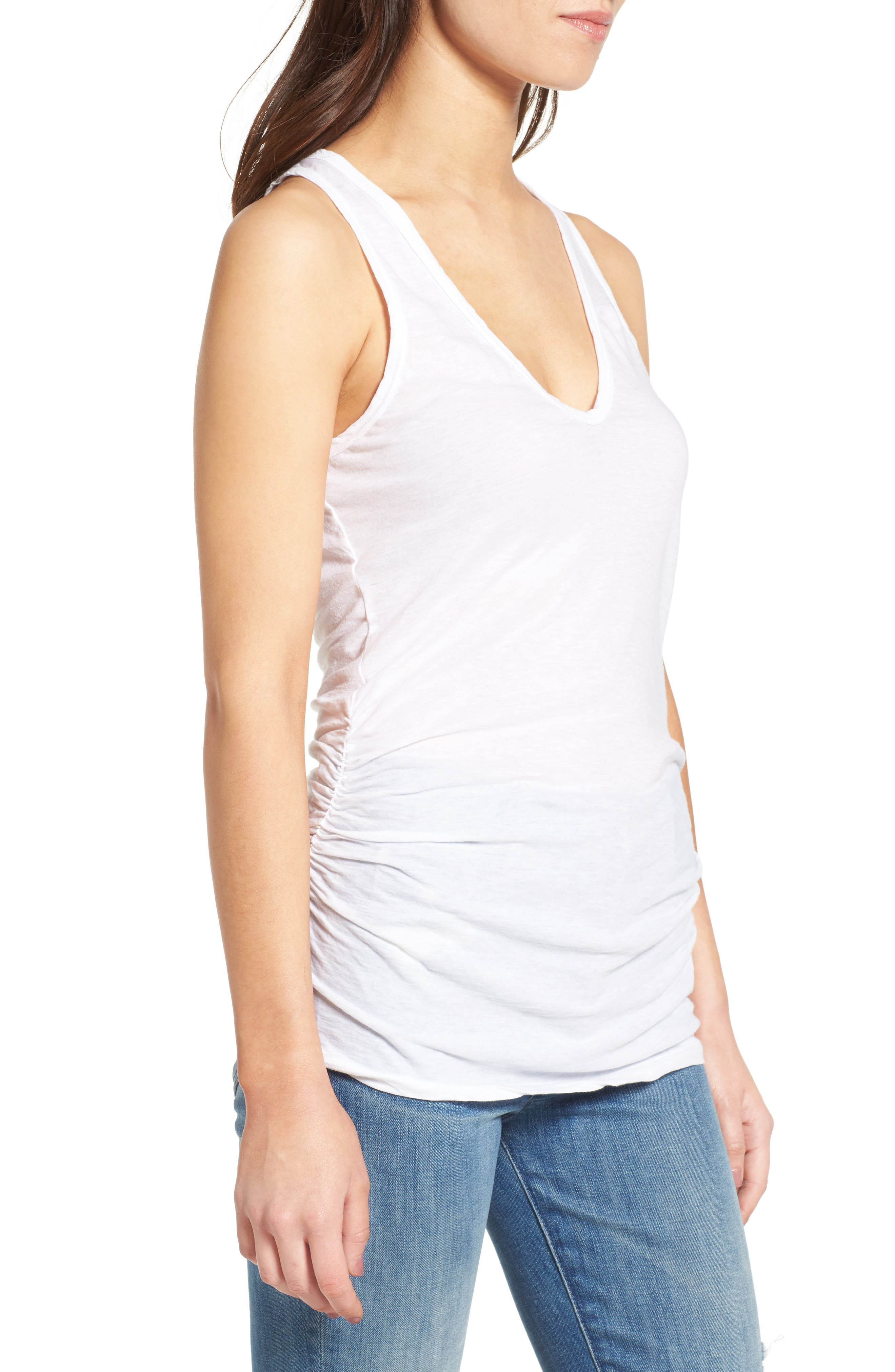 Skinny Ruched Cotton Tank,                             Alternate thumbnail 3, color,                             100