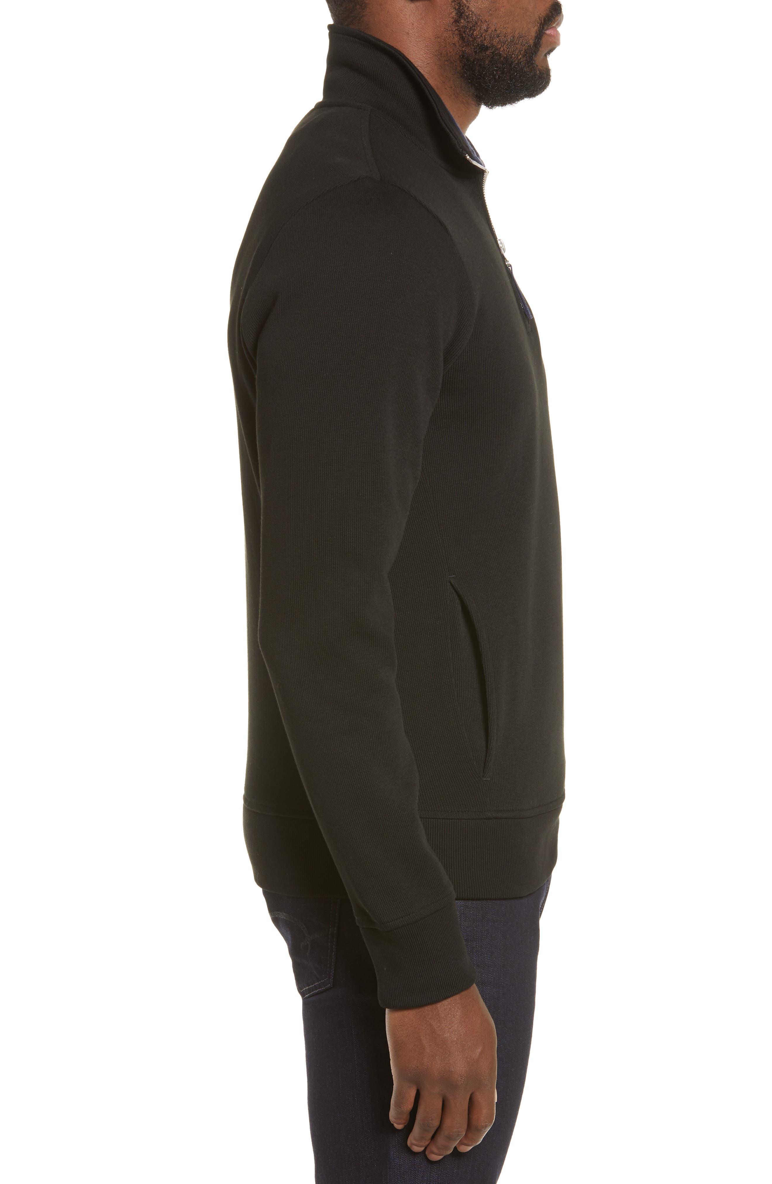 LACOSTE,                             Quarter Zip Pullover,                             Alternate thumbnail 3, color,                             BLACK/ NAVY BLUE