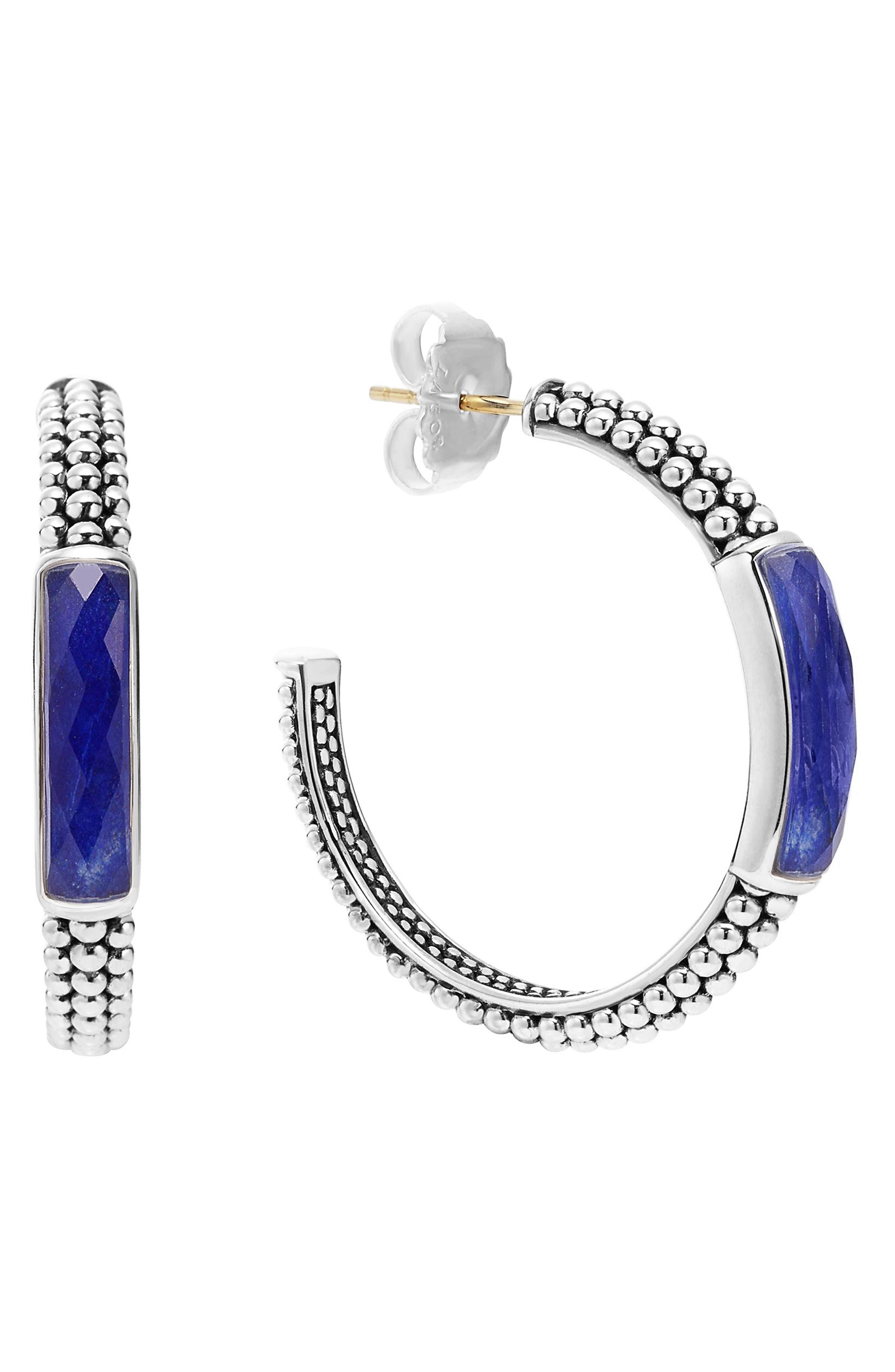 'Maya' Caviar Hoop Earrings,                             Main thumbnail 1, color,                             LAPIS