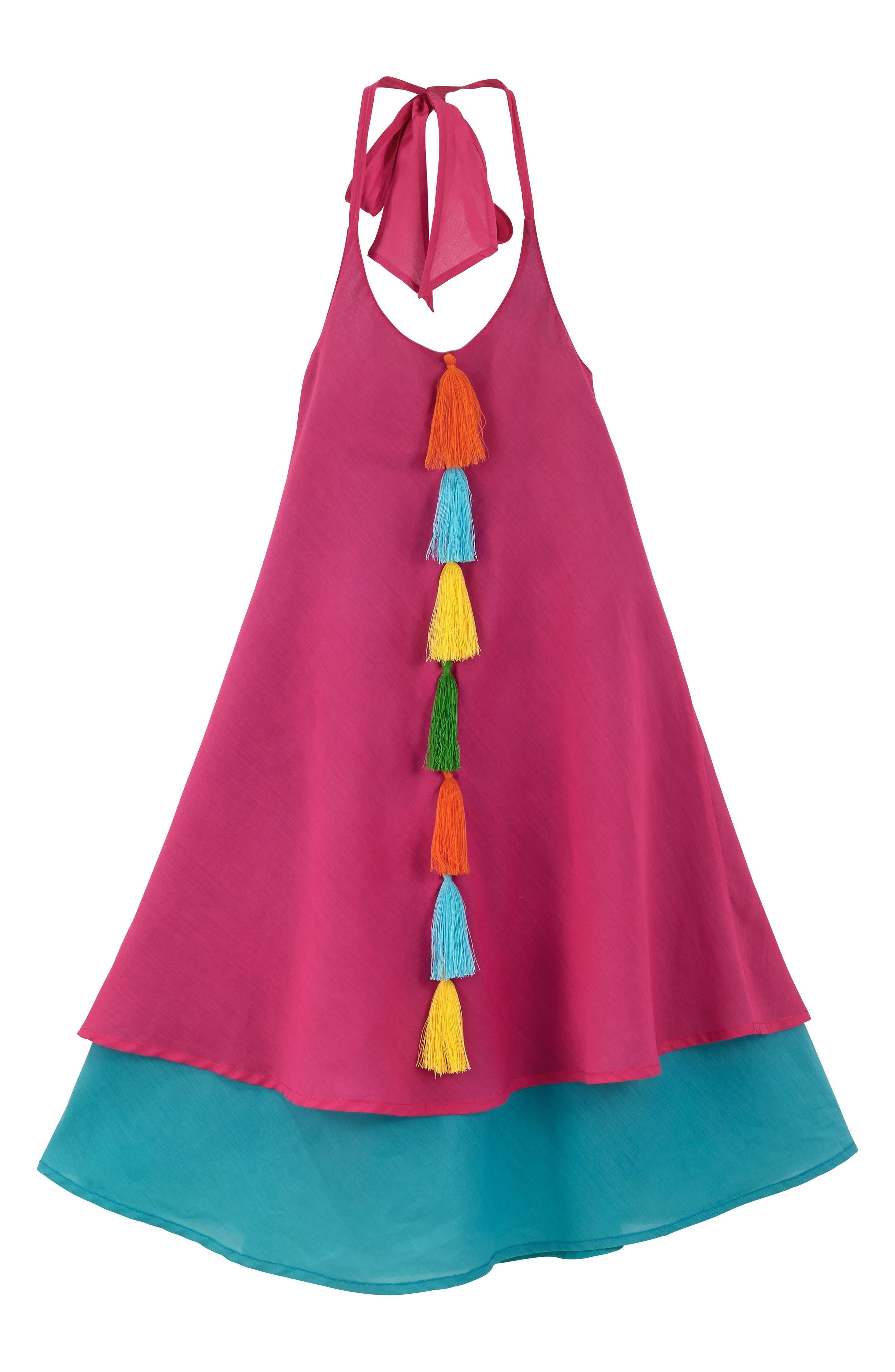 Petal Halter Dress, Main, color, 664