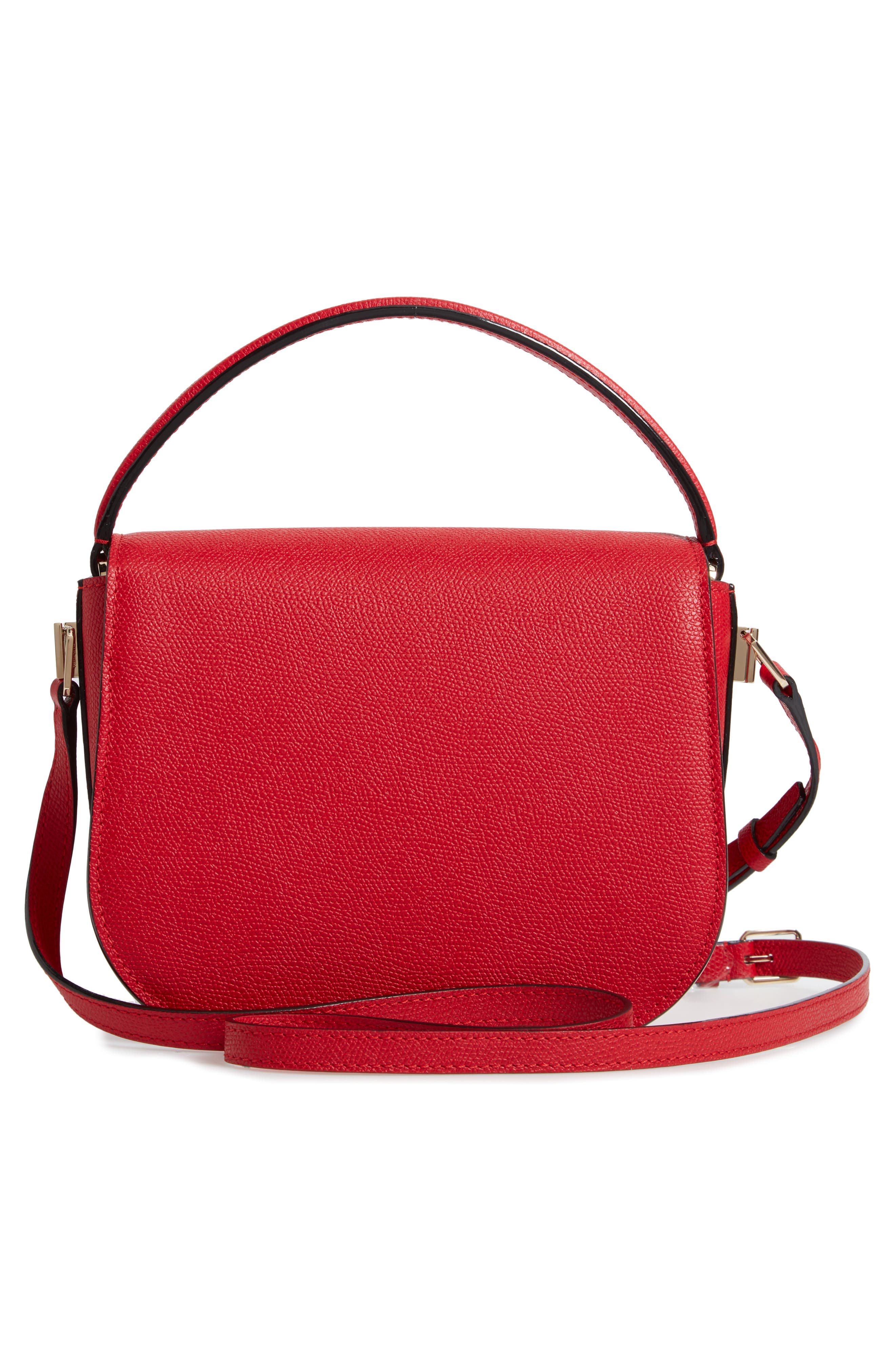 Iside Leather Top Handle Bag,                             Alternate thumbnail 3, color,                             RED