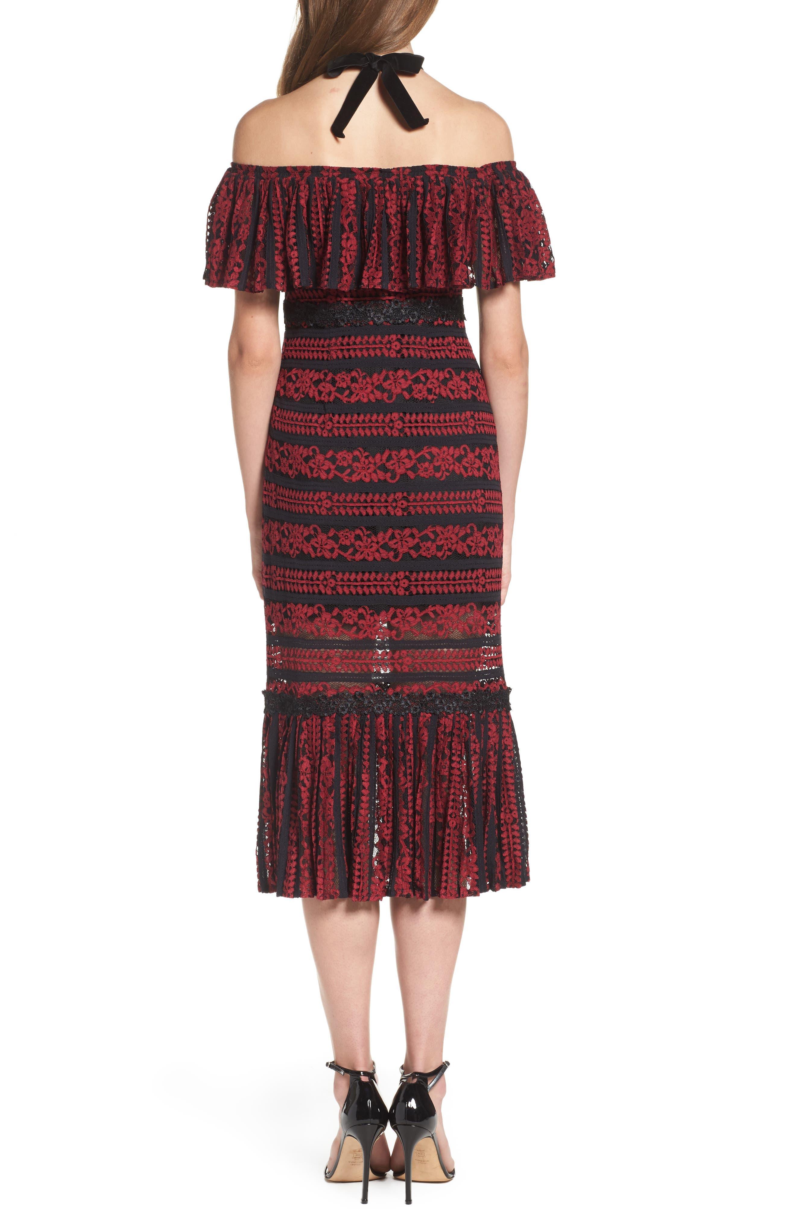 Stella Off the Shoulder Lace Midi Dress,                             Alternate thumbnail 2, color,                             649