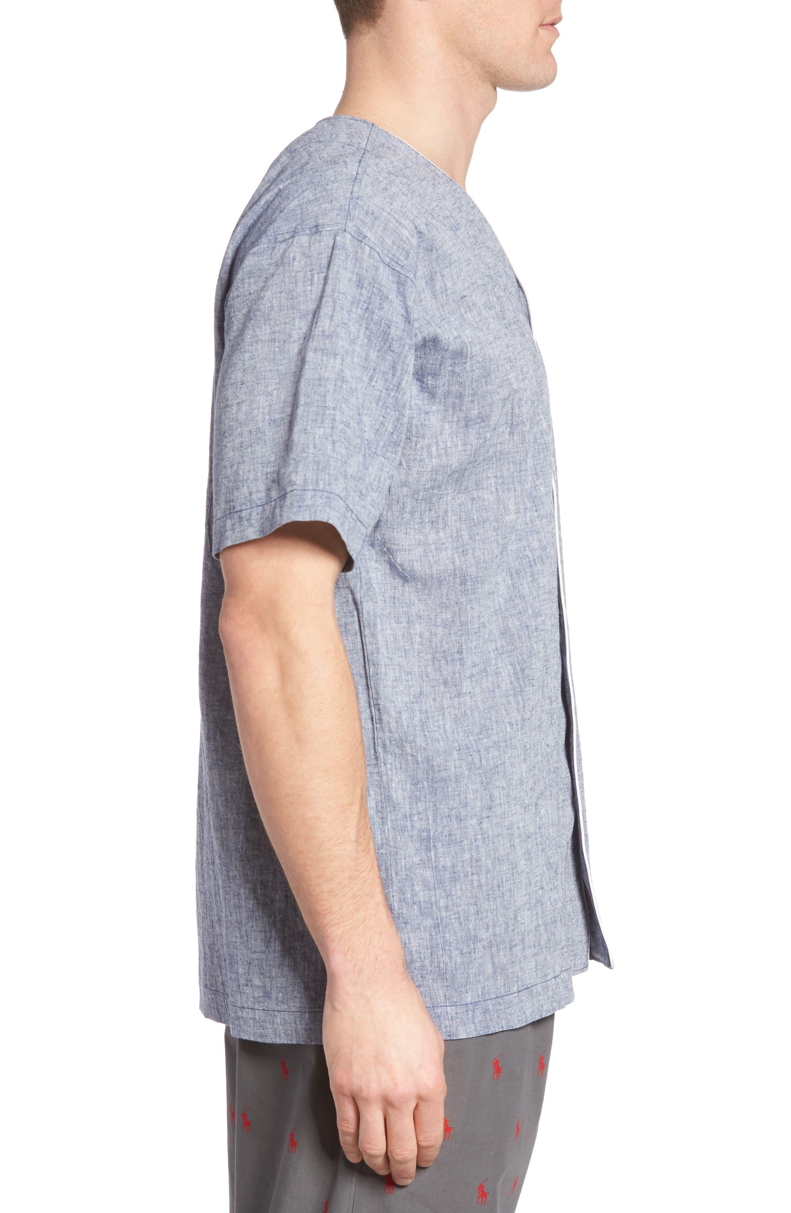 Linen & Cotton Pajama Shirt,                             Alternate thumbnail 3, color,                             400
