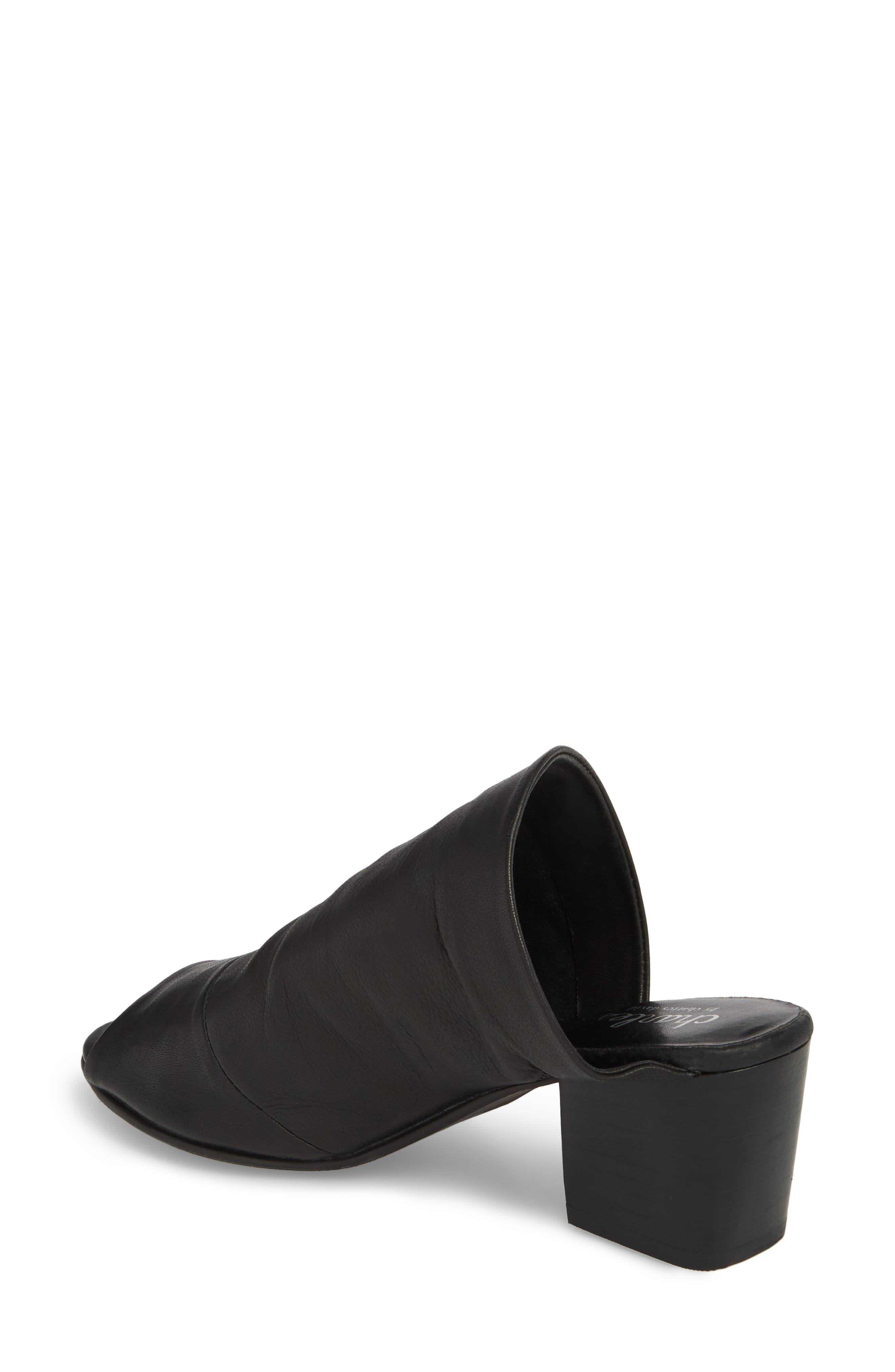 Yanna Block Heel Slide Sandal,                             Alternate thumbnail 2, color,                             BLACK LEATHER