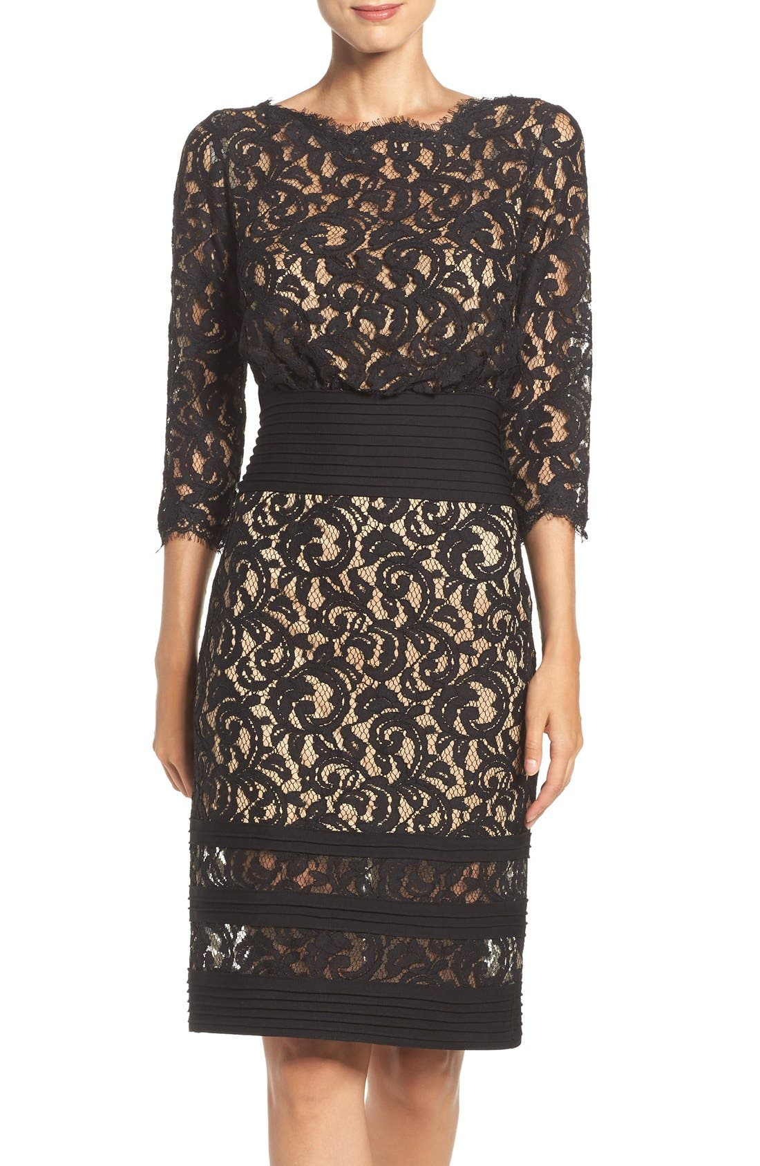 Pleat Waist Lace Blouson Dress,                             Main thumbnail 1, color,                             004