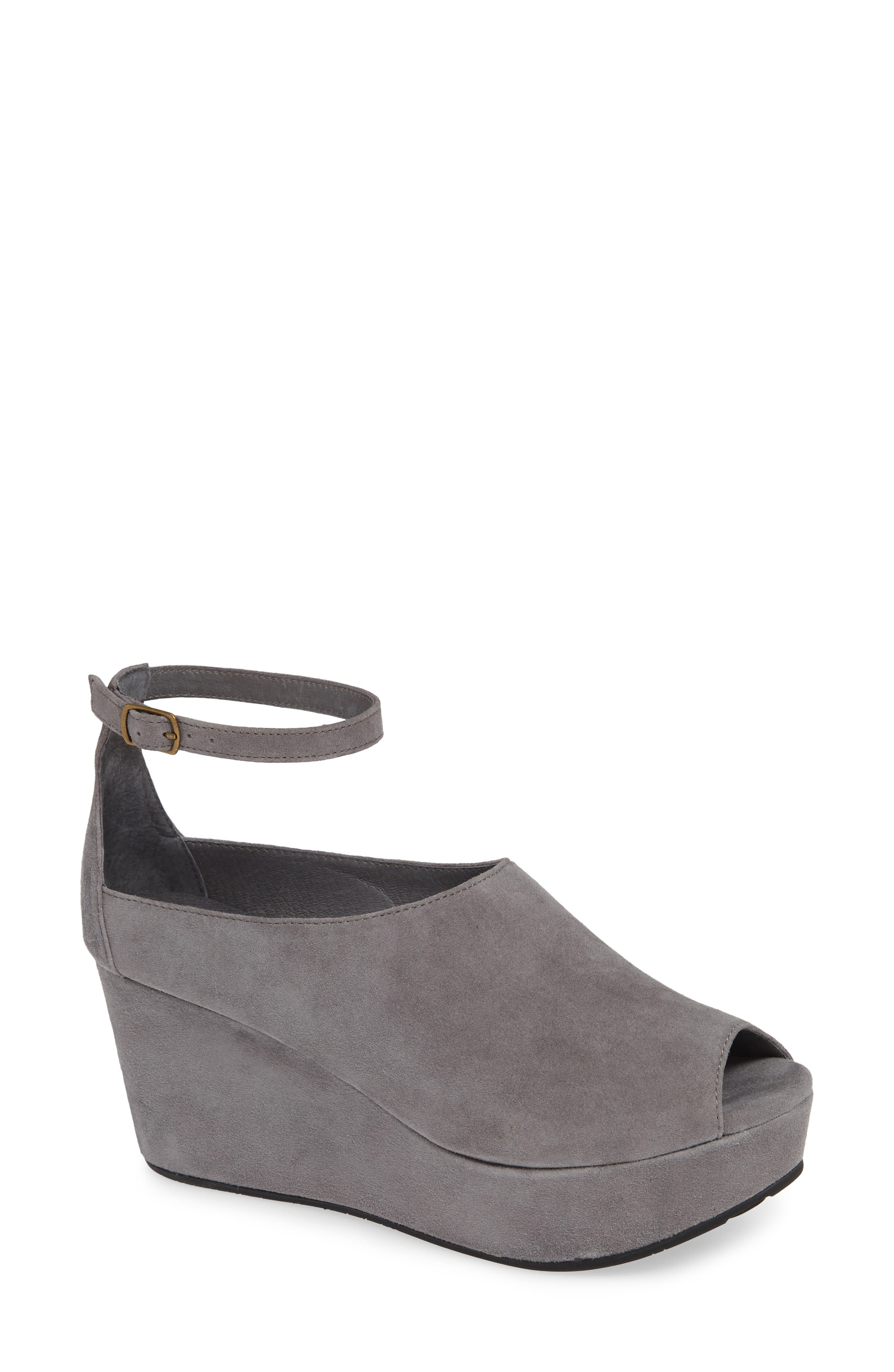 Walter Ankle Strap Wedge Sandal,                         Main,                         color, GREY SUEDE