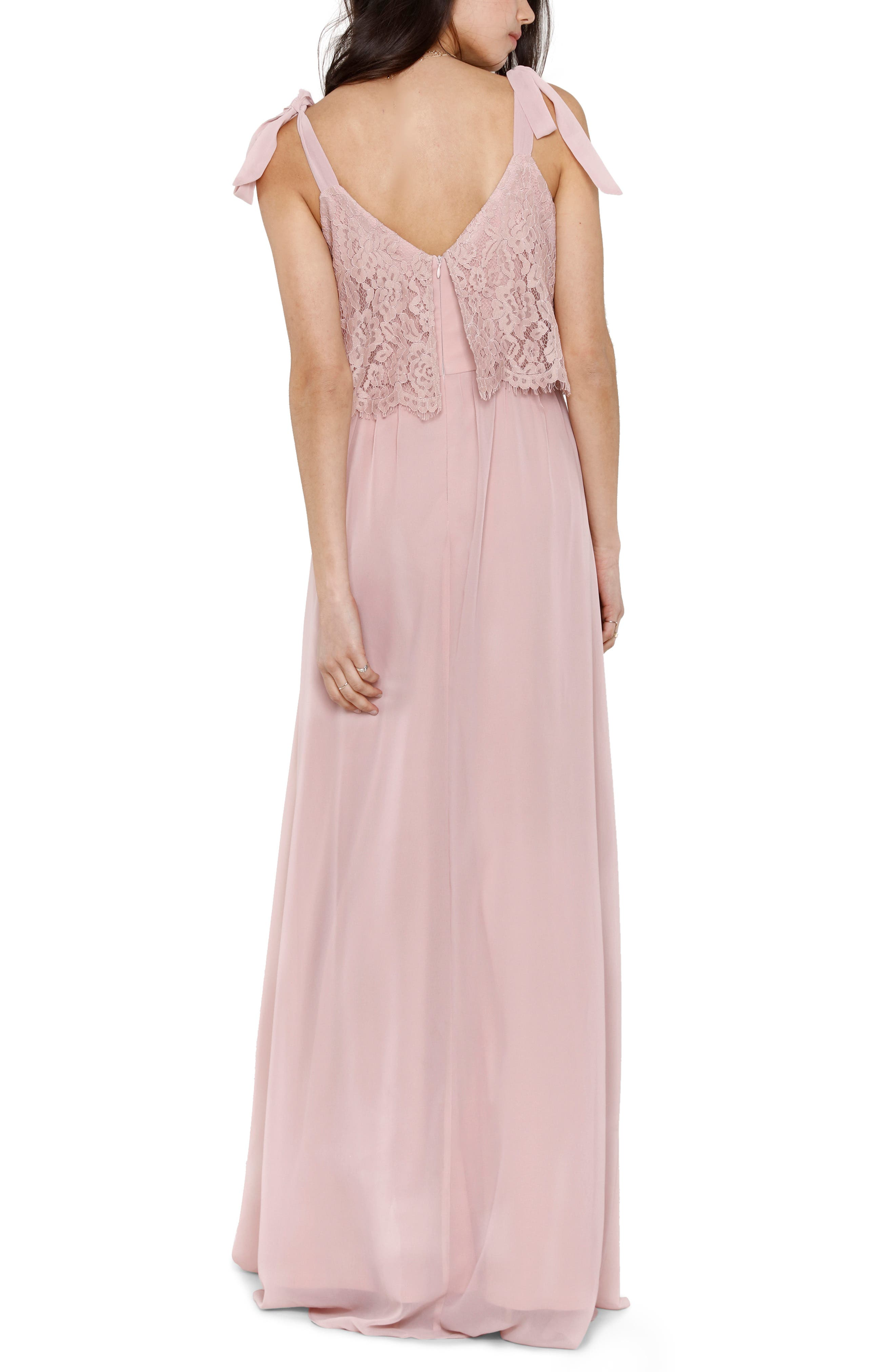 Koko Tie Shoulder Lace Bodice Gown,                             Alternate thumbnail 2, color,                             MAUVE