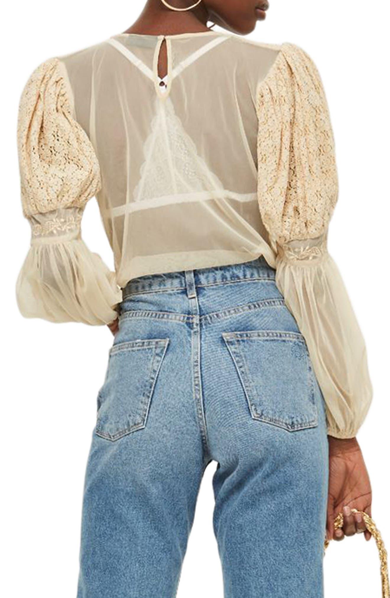 Lace Blouson Top,                             Alternate thumbnail 2, color,                             900