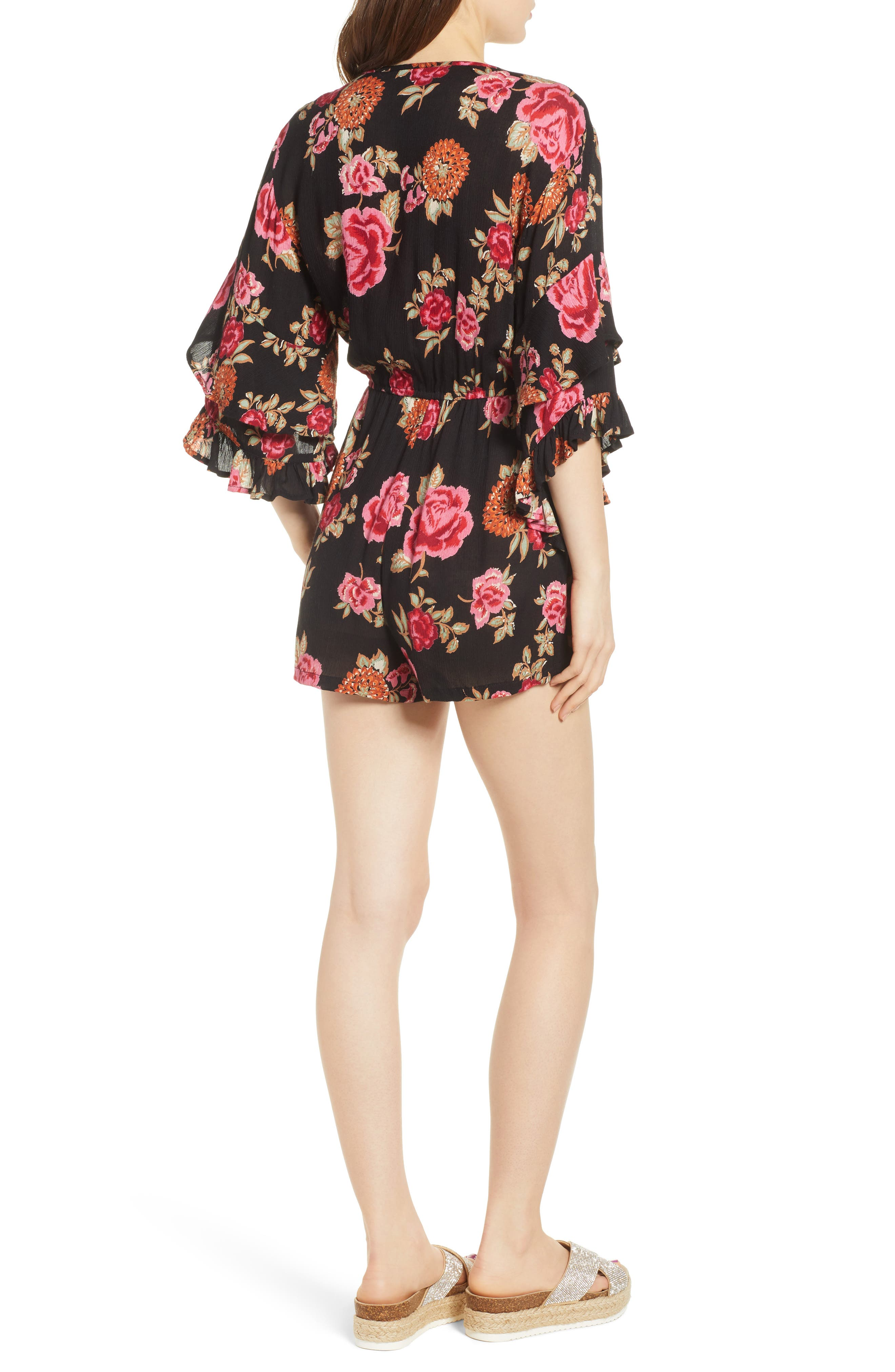 Print Ruffle Surplice Romper,                             Alternate thumbnail 3, color,