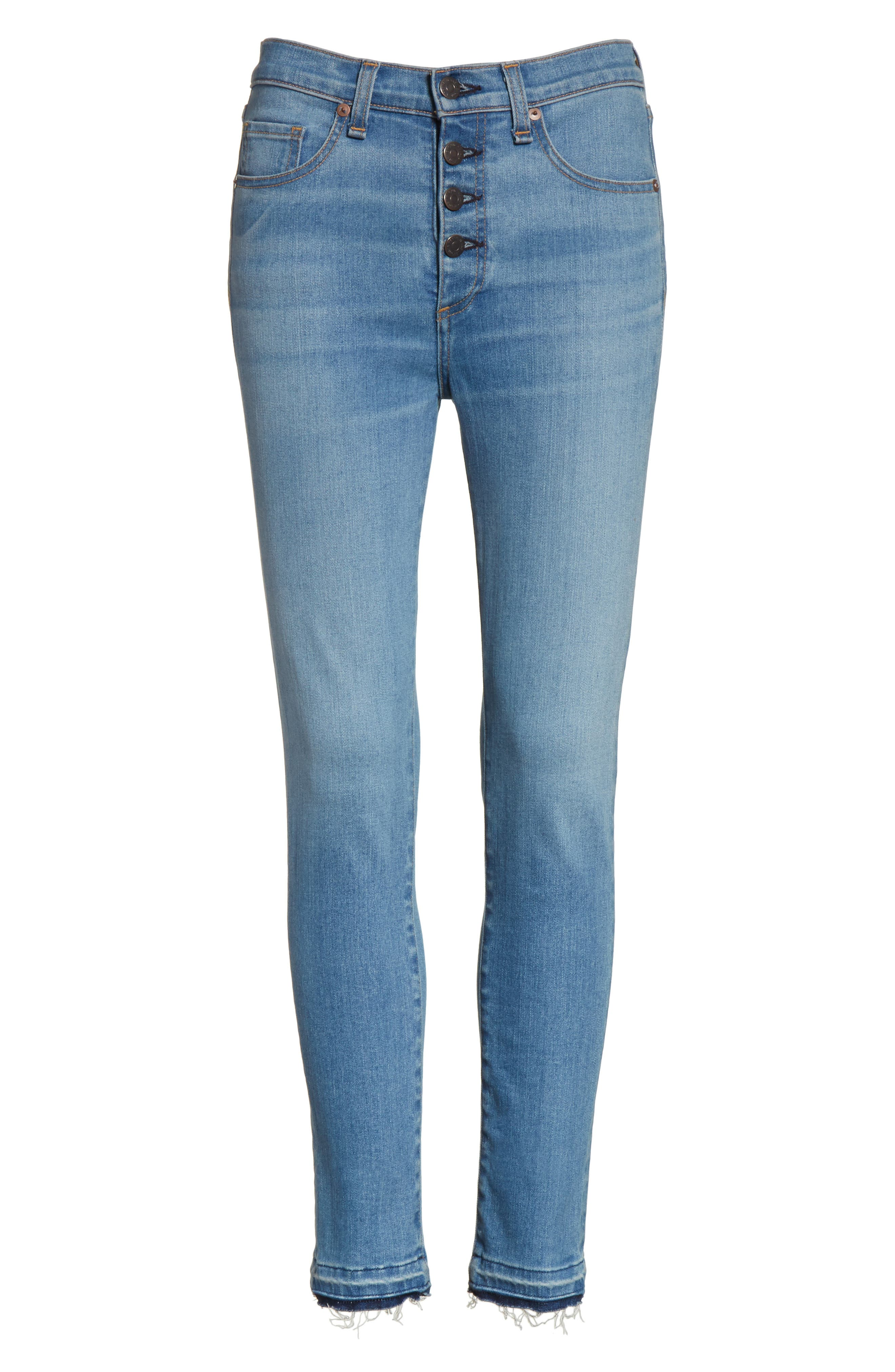 Debbie High Waist Fray Hem Jeans,                             Alternate thumbnail 6, color,