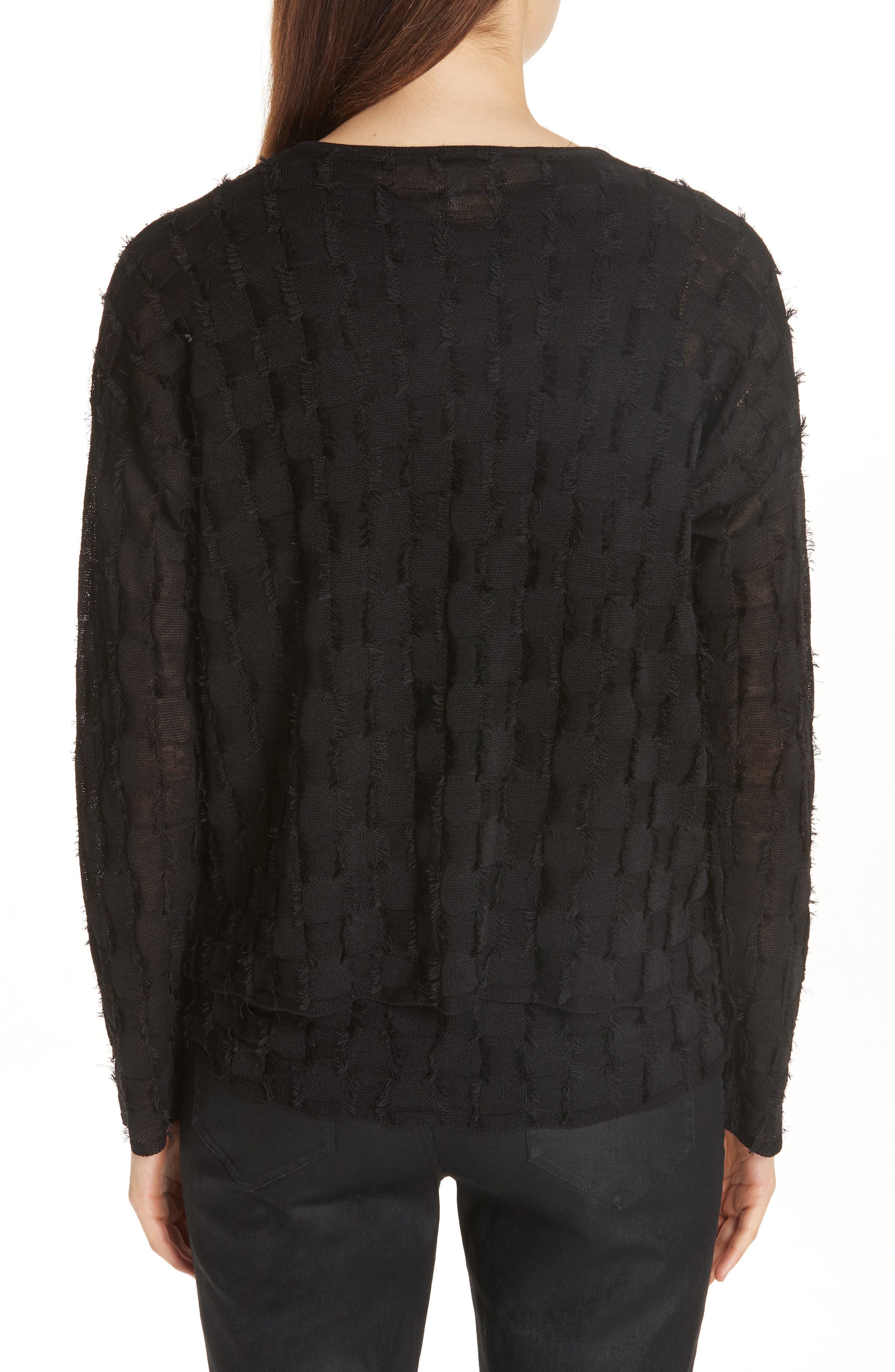 Fringe Knit Sweater,                             Alternate thumbnail 2, color,                             001