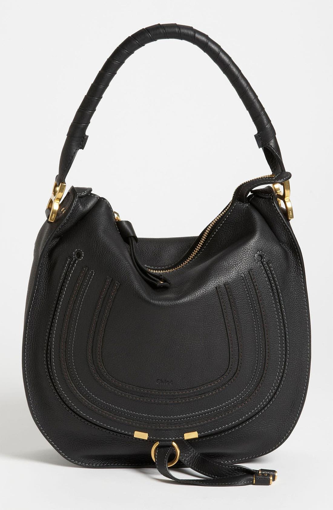 'Marcie - Medium' Leather Hobo,                             Main thumbnail 1, color,                             001