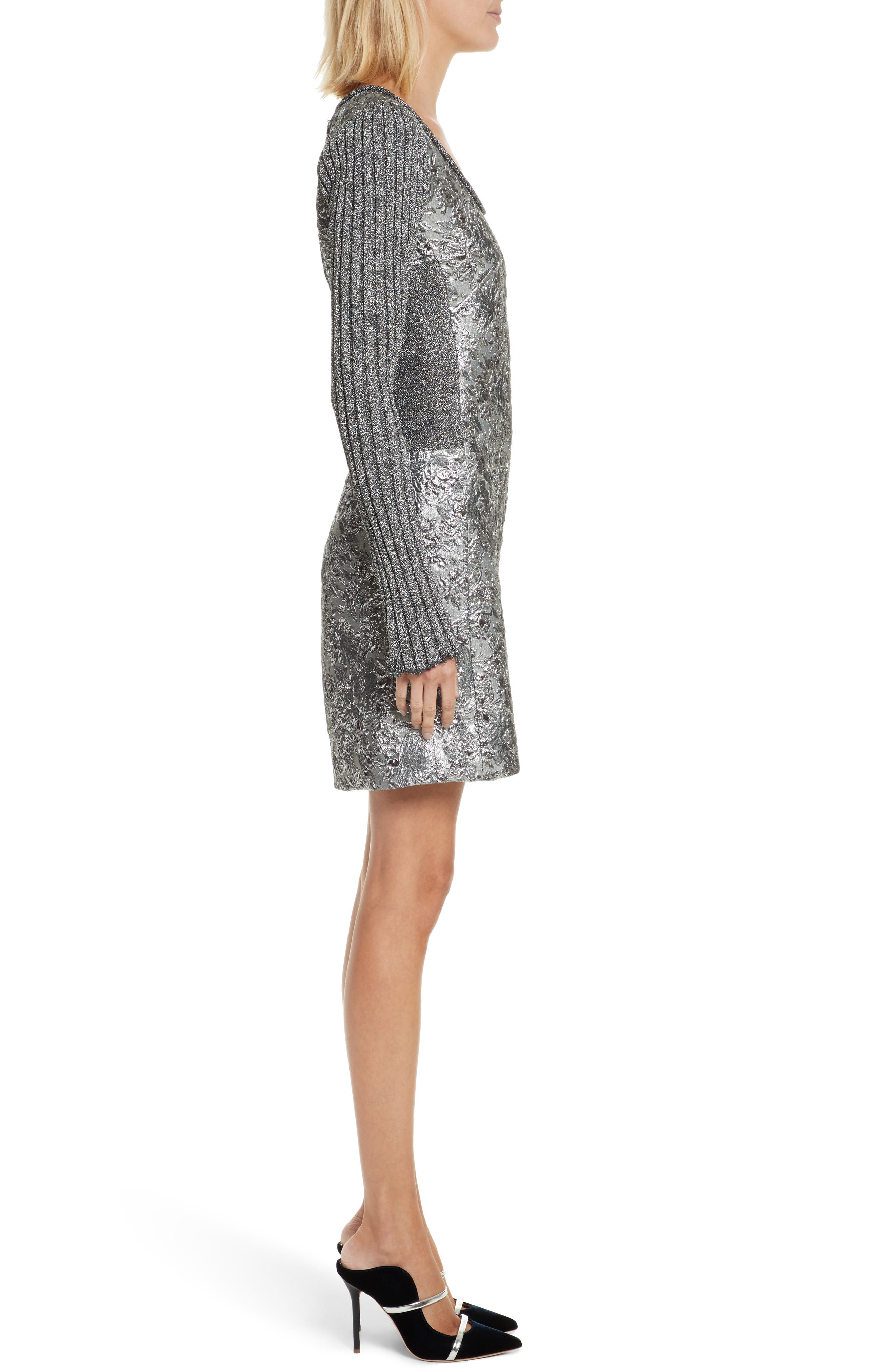 Mixed Media Metallic Sweater Dress,                             Alternate thumbnail 3, color,