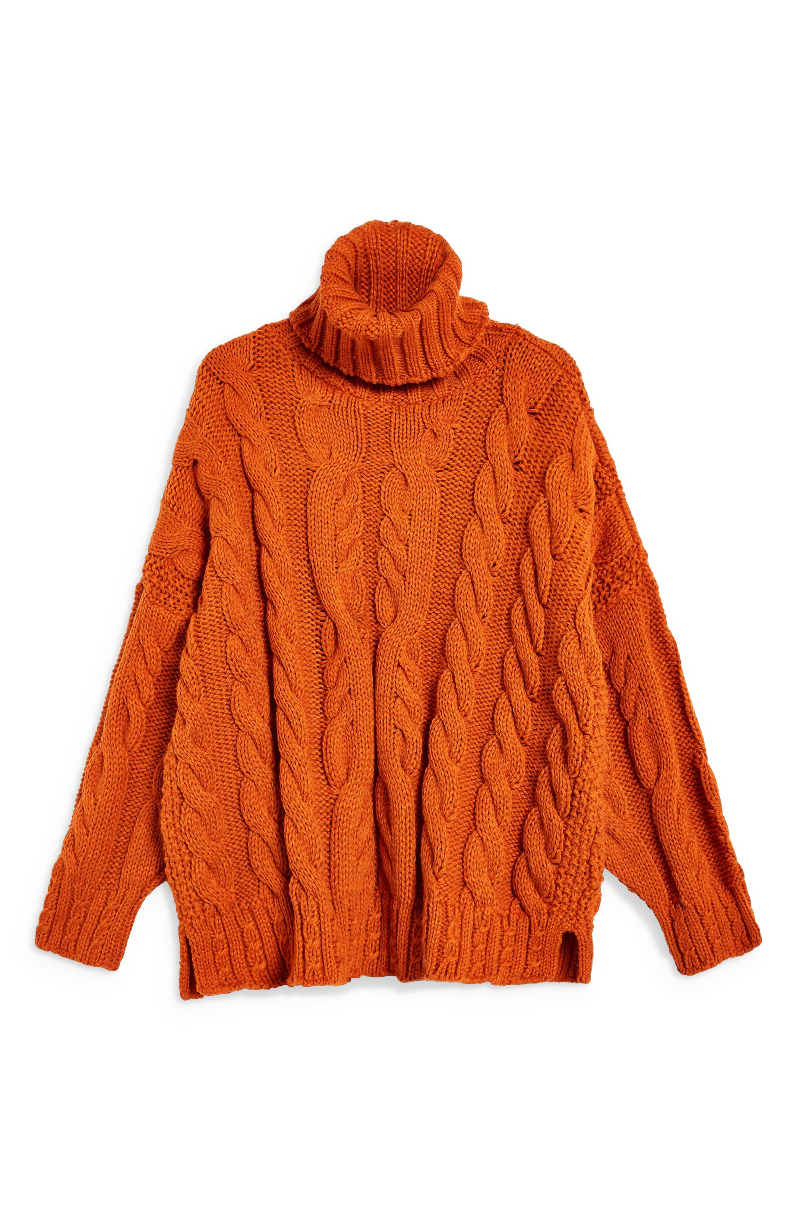 TOPSHOP,                             Chunky Cable Turtleneck Sweater,                             Alternate thumbnail 3, color,                             BROWN