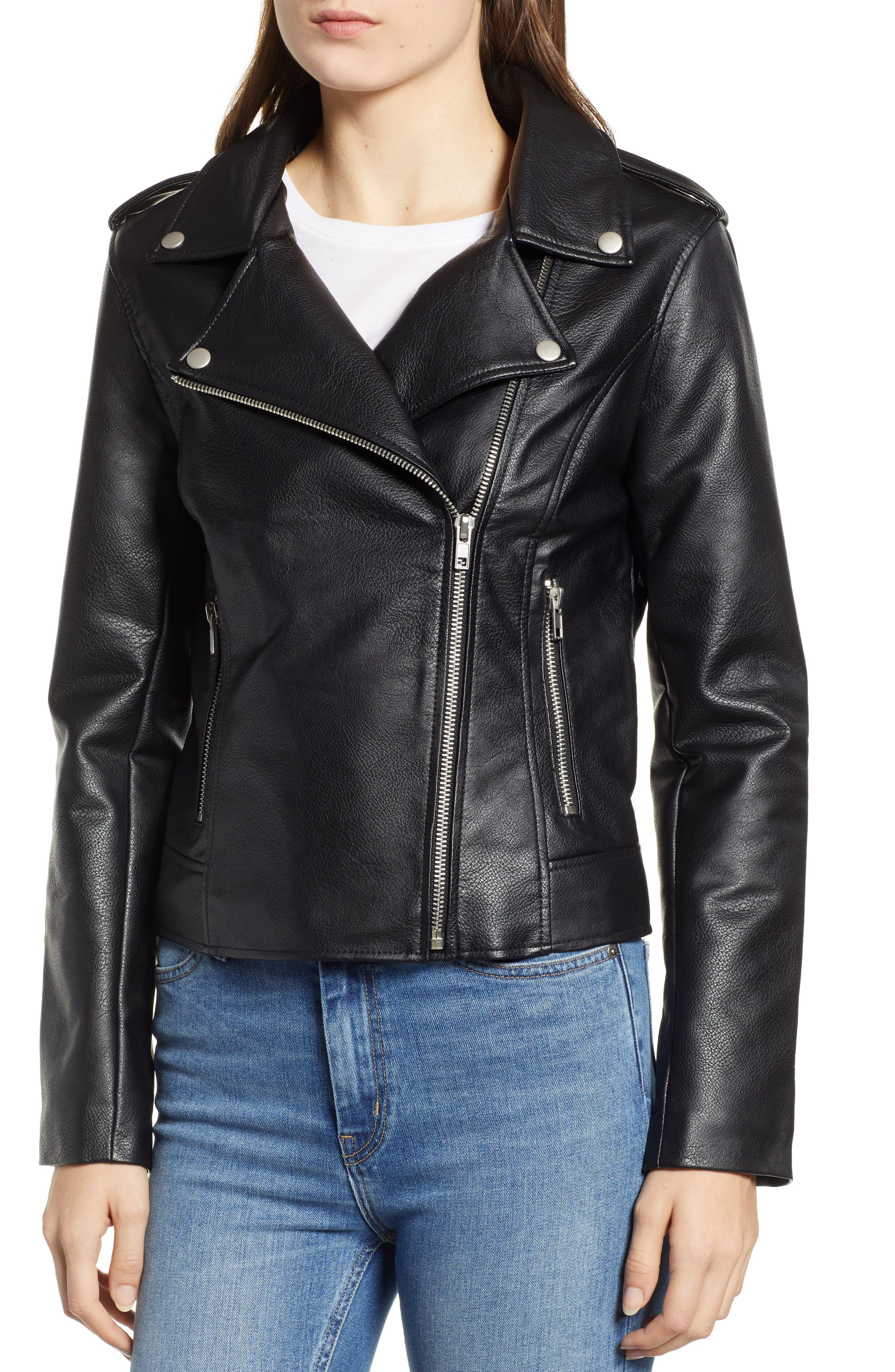 Just Ride Faux Leather Jacket,                             Alternate thumbnail 4, color,                             BLACK