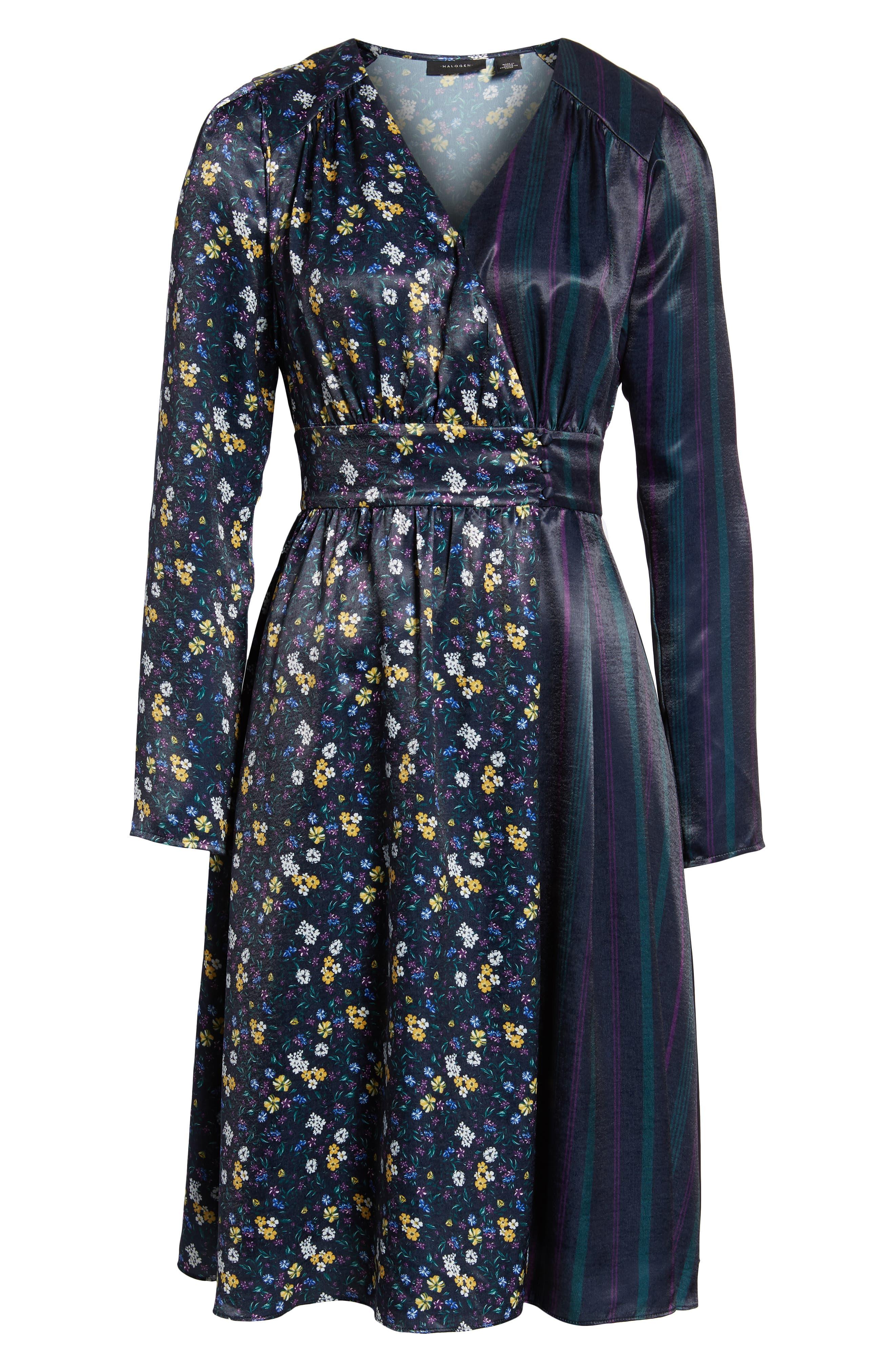 Print Satin Dress,                             Alternate thumbnail 7, color,                             410