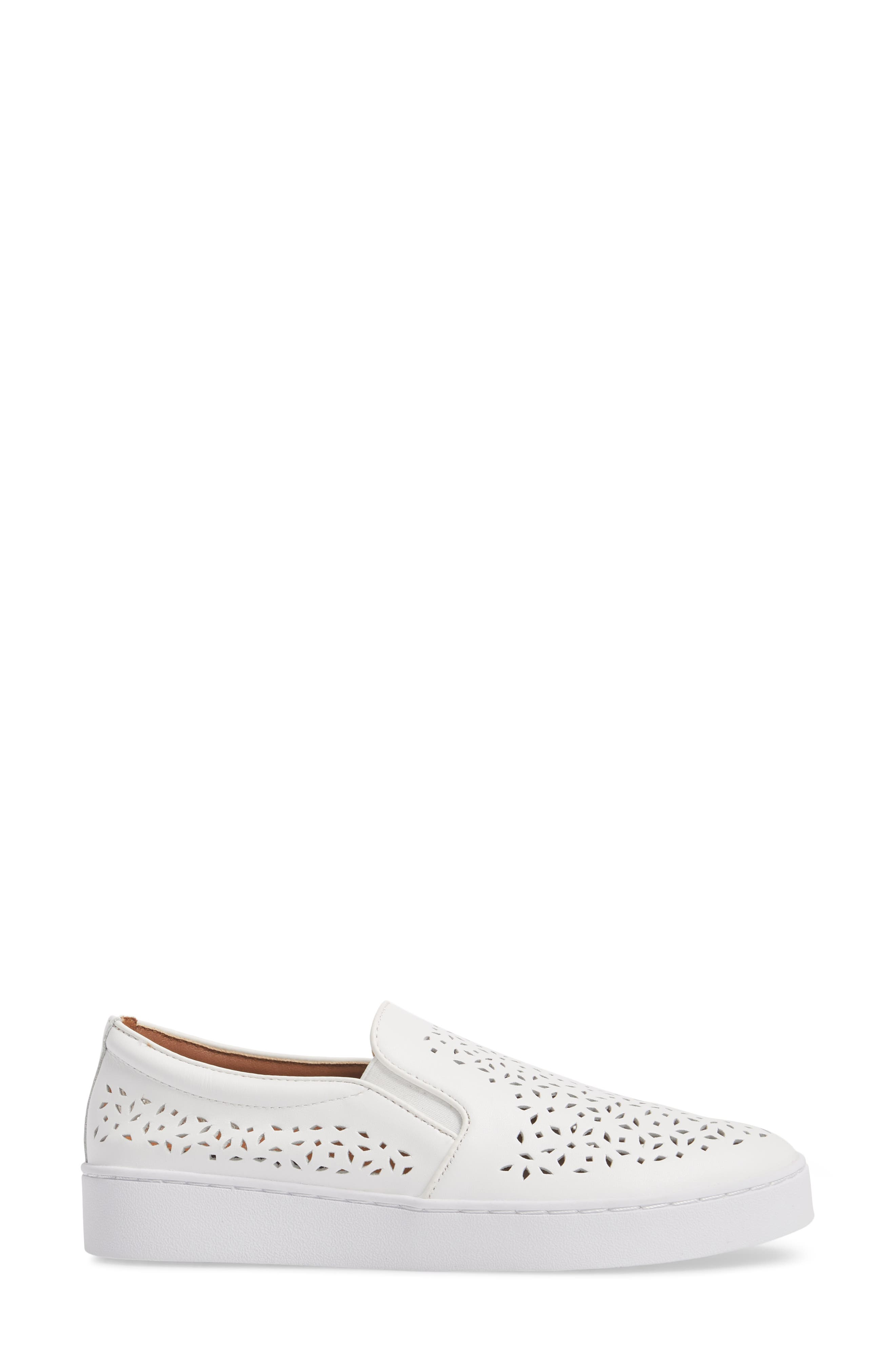 Perforated Slip-On Sneaker,                             Alternate thumbnail 3, color,                             WHITE LEATHER