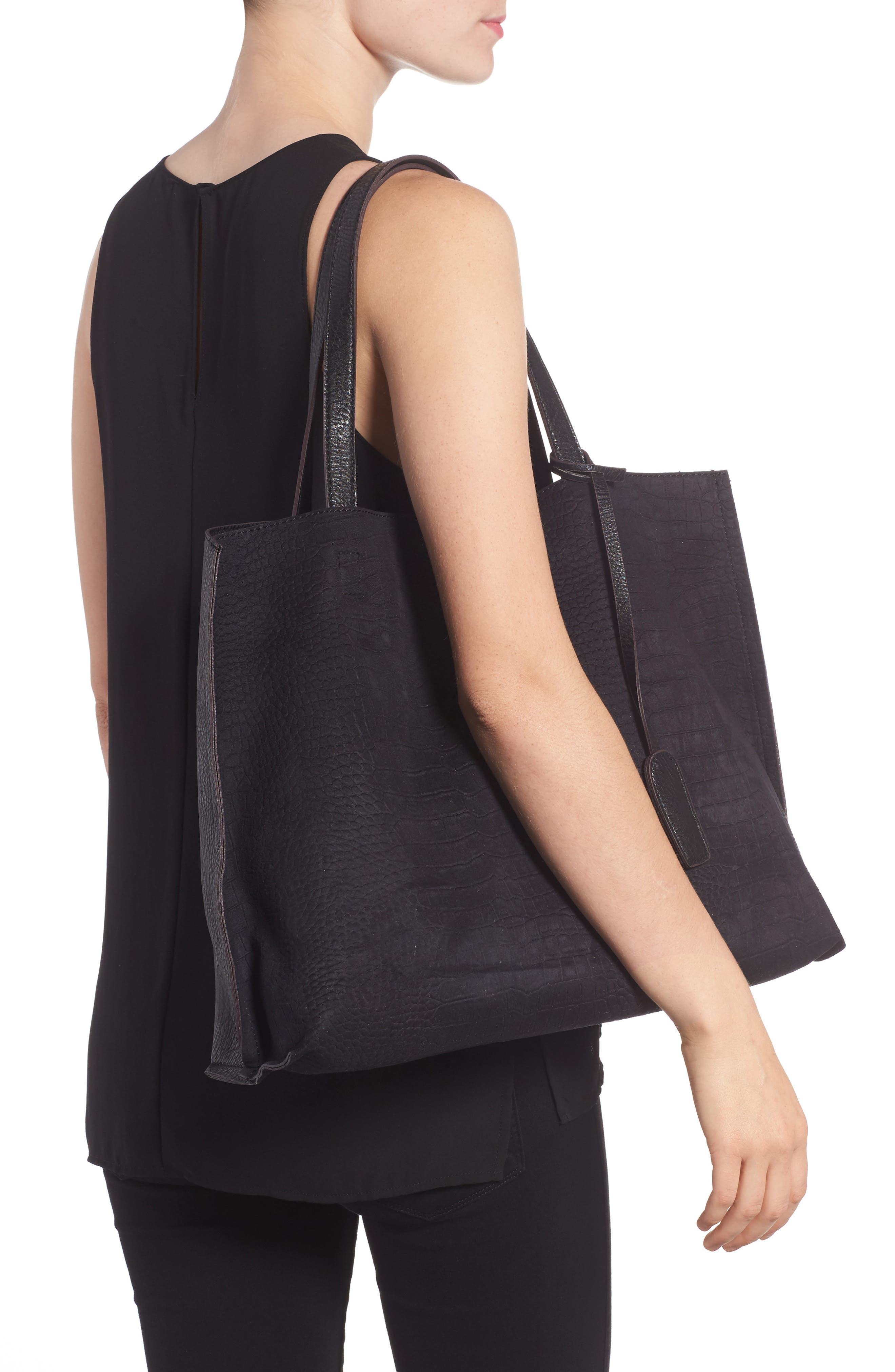 Reversible Textured Faux Leather Tote,                             Alternate thumbnail 3, color,                             001