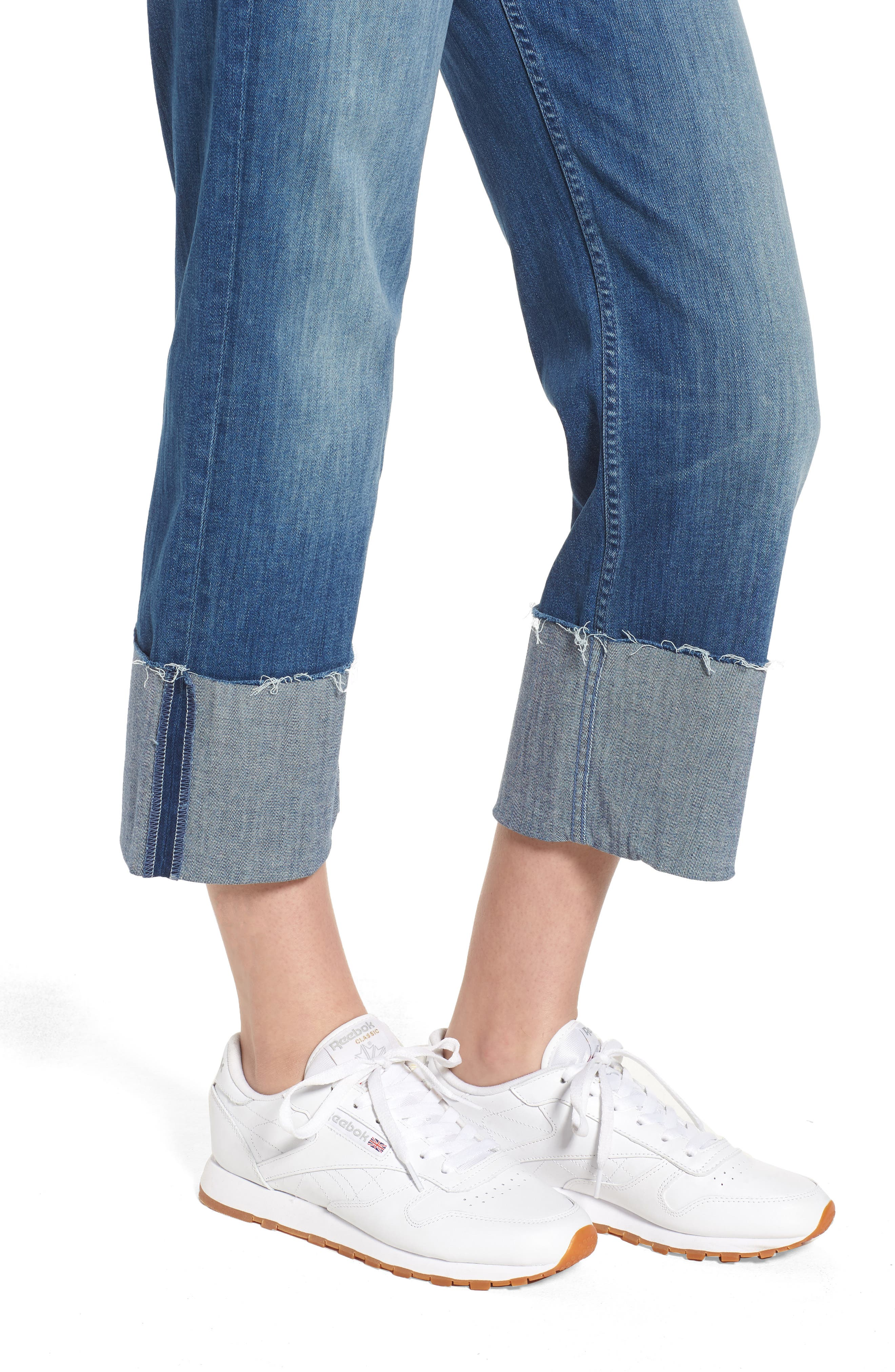 The Dusty Cuff Fray Straight Leg Jeans,                             Alternate thumbnail 4, color,