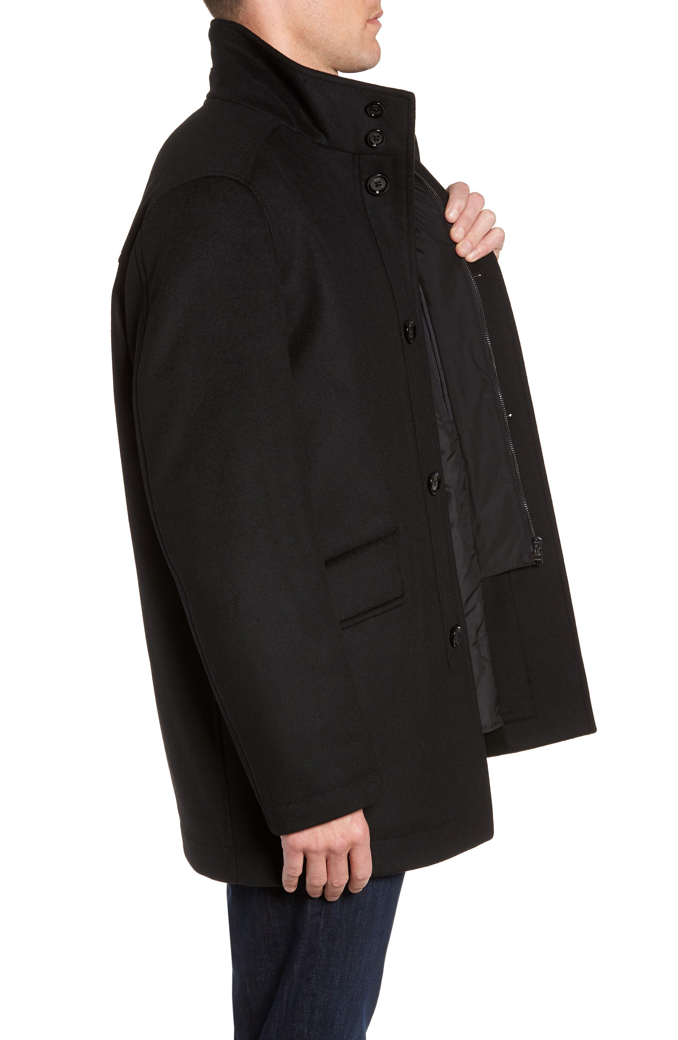 Coxtan Wool Regular Fit Car Coat,                             Alternate thumbnail 3, color,                             BLACK