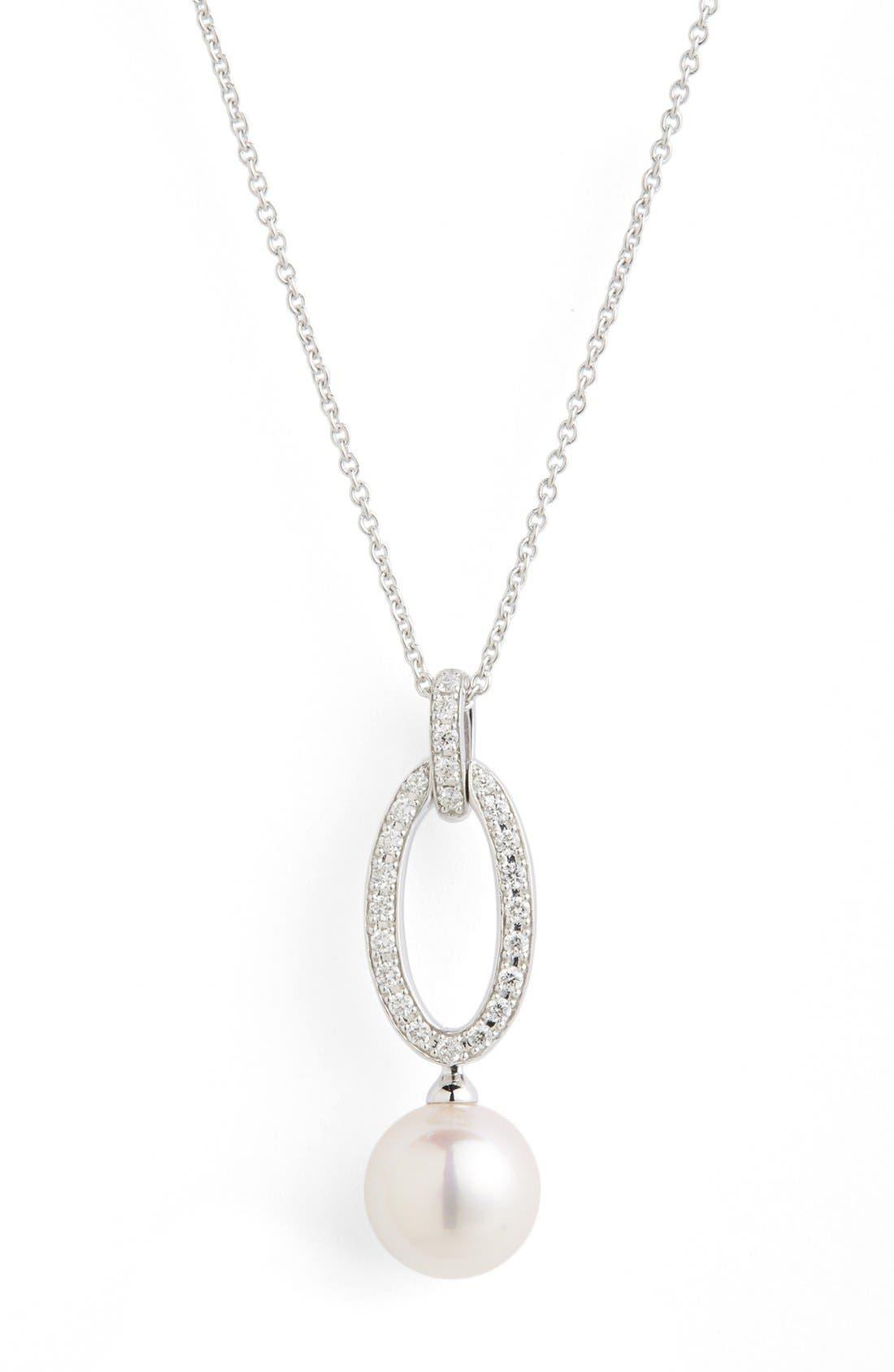 Diamond & Akoya Cultured Pearl Pendant Necklace,                             Alternate thumbnail 4, color,                             WHITE GOLD